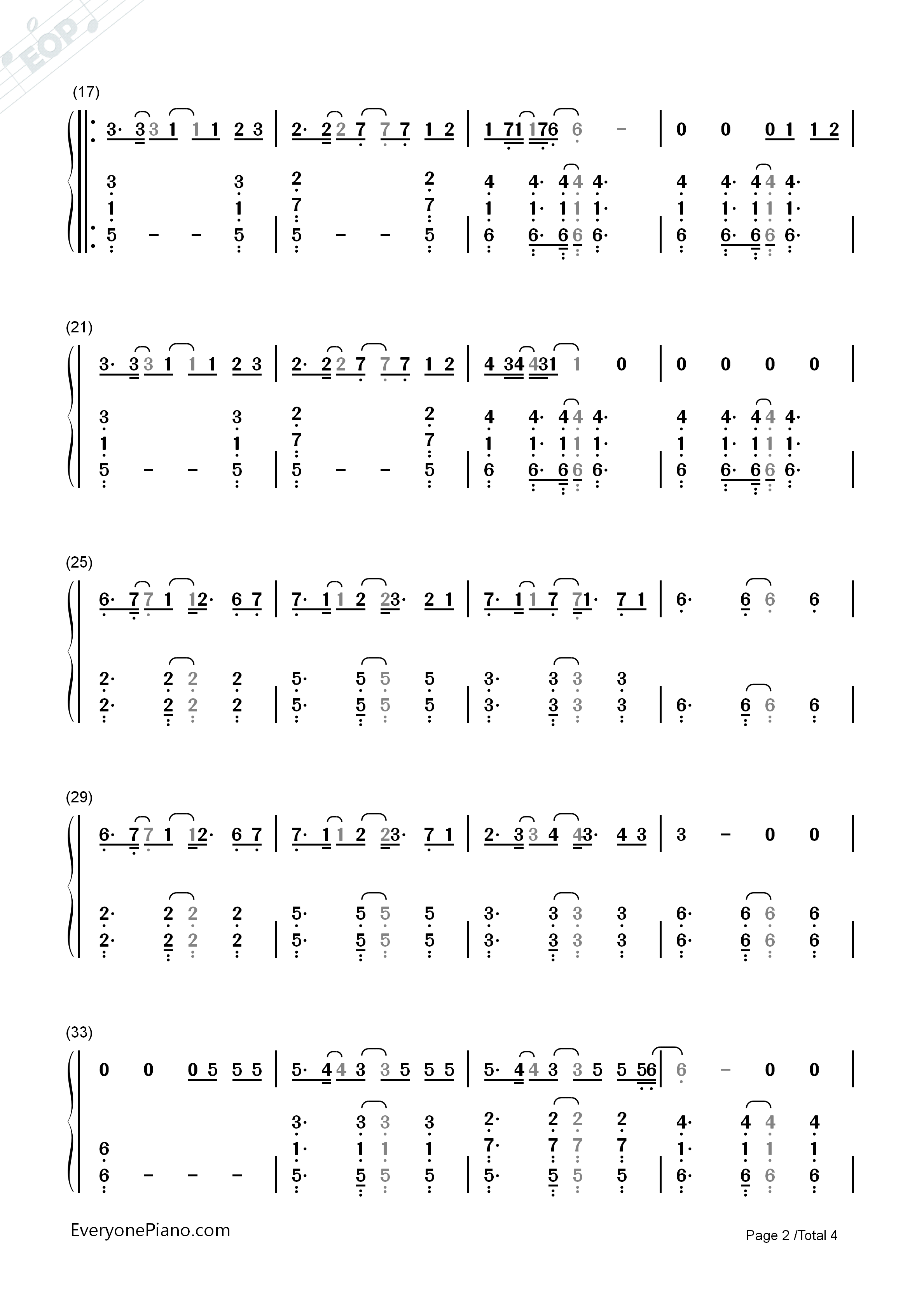 Better Way-Tom Chaplin Numbered Musical Notation Preview 2