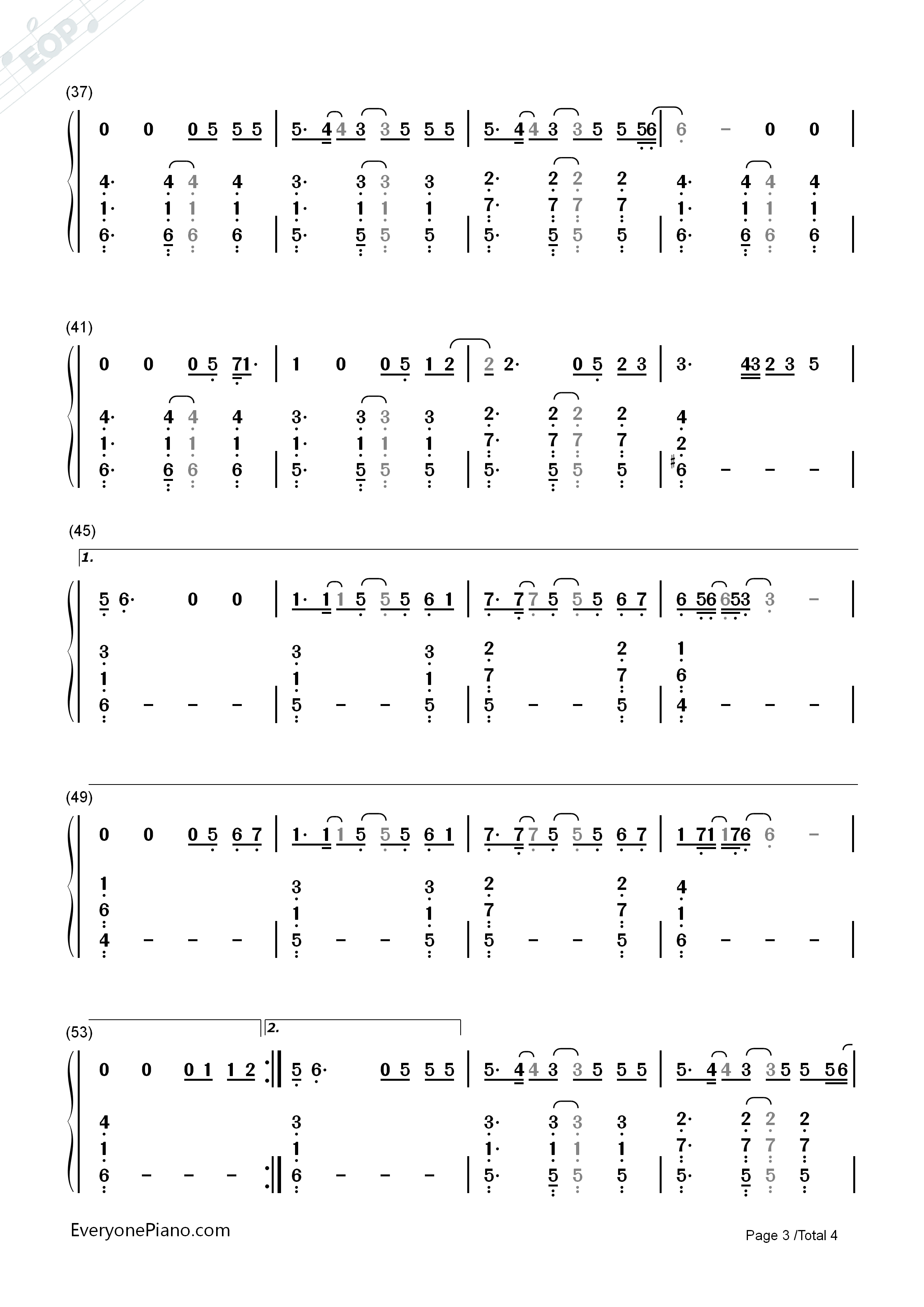 Better Way-Tom Chaplin Numbered Musical Notation Preview 3