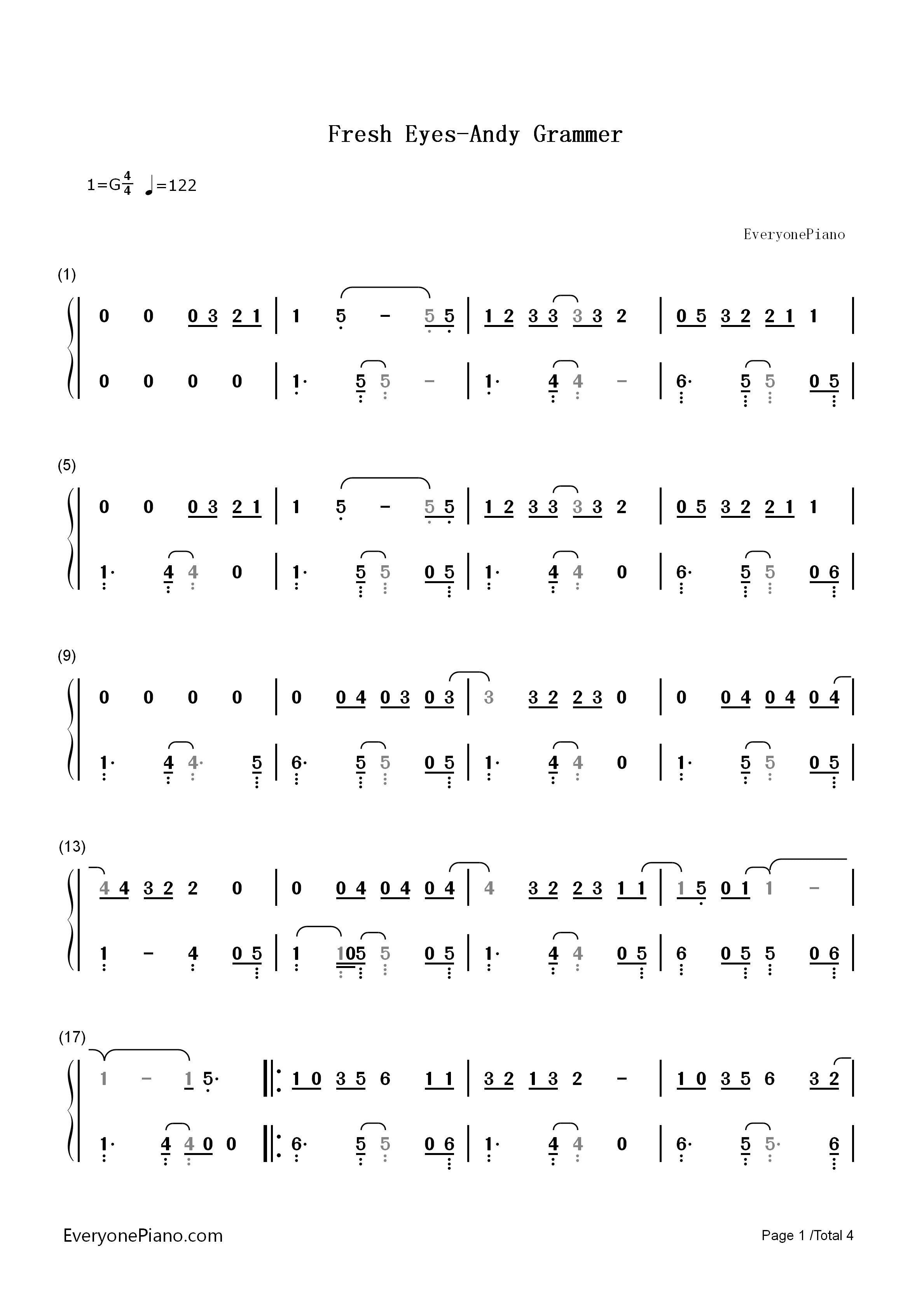 Fresh Eyes-Andy Grammer Numbered Musical Notation Preview