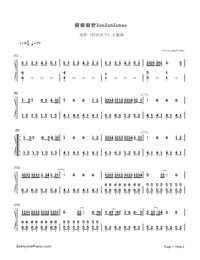 ZenZenZense-Your Name theme-Numbered-Musical-Notation-Preview-1