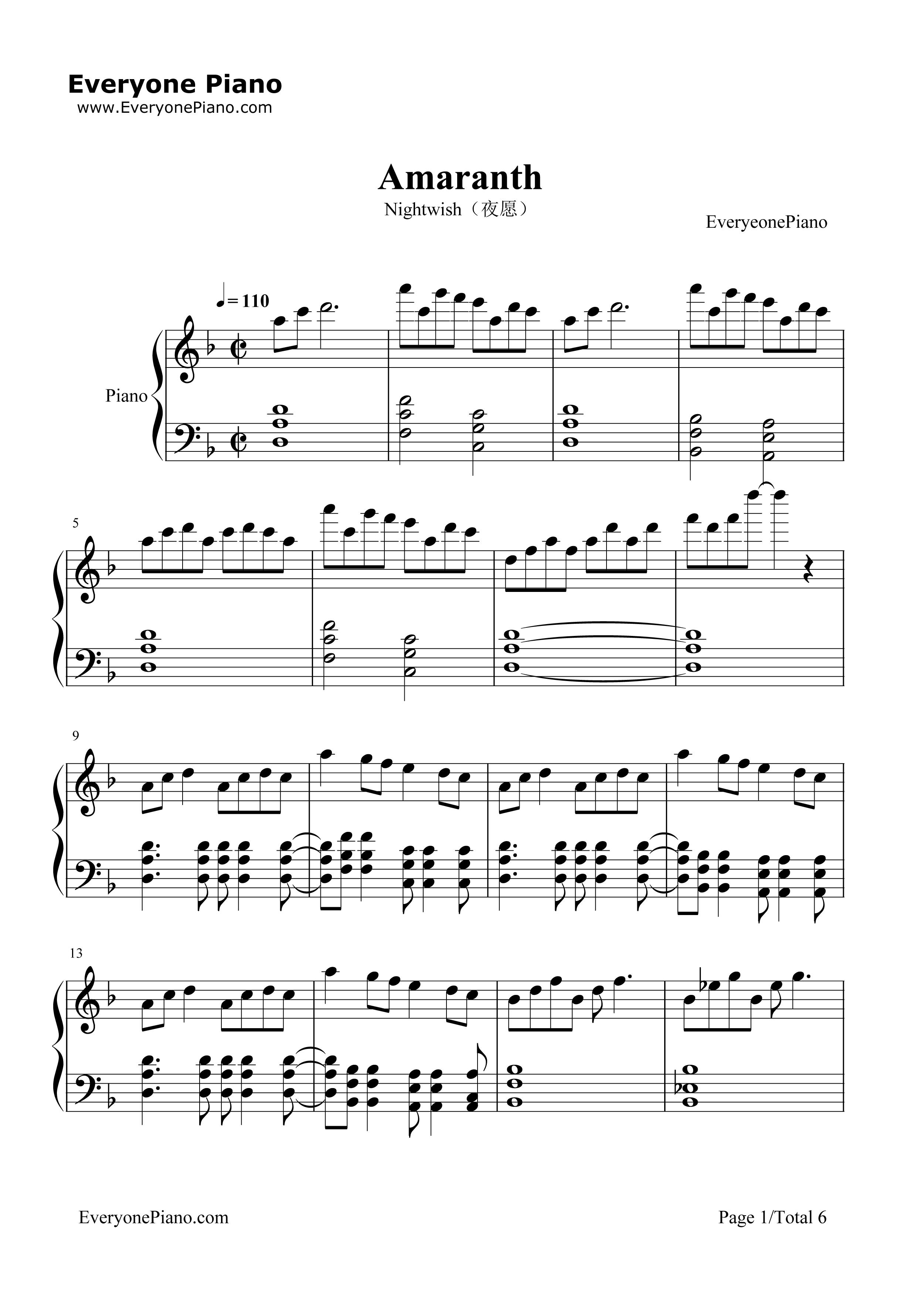 Amaranth nightwish stave preview 1 free piano sheet music piano listen now print sheet amaranth nightwish stave preview 1 hexwebz Gallery