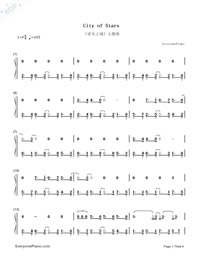 City of Stars-La La Land theme-Numbered-Musical-Notation-Preview-1