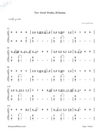 Too Good-Drake,Rihanna-Numbered-Musical-Notation-Preview-1