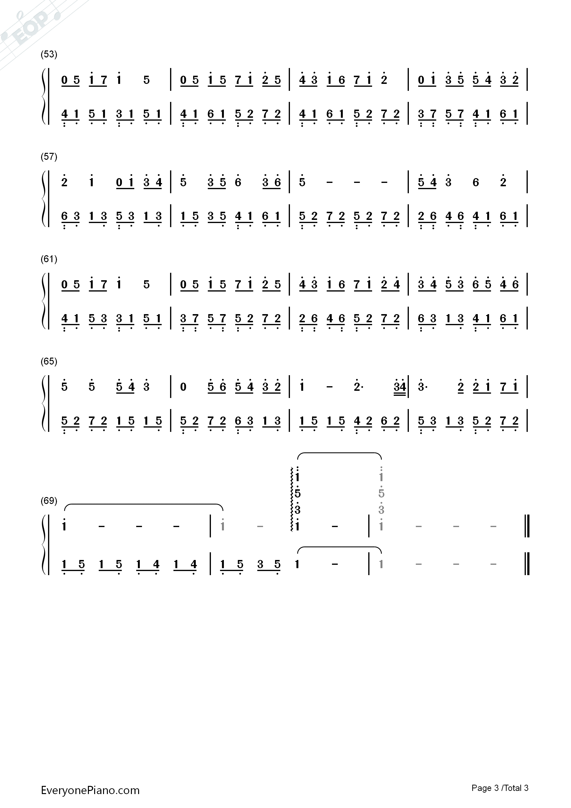 Mountain Stream-Bandari Numbered Musical Notation Preview 3