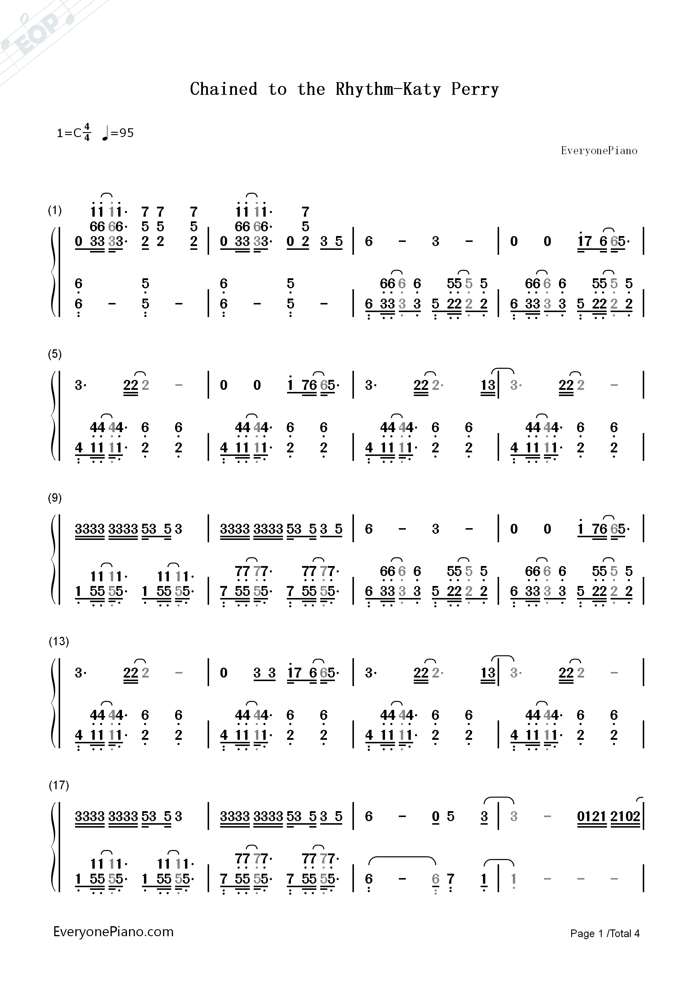 Chained to the Rhythm-Katy Perry Numbered Musical Notation Preview 1
