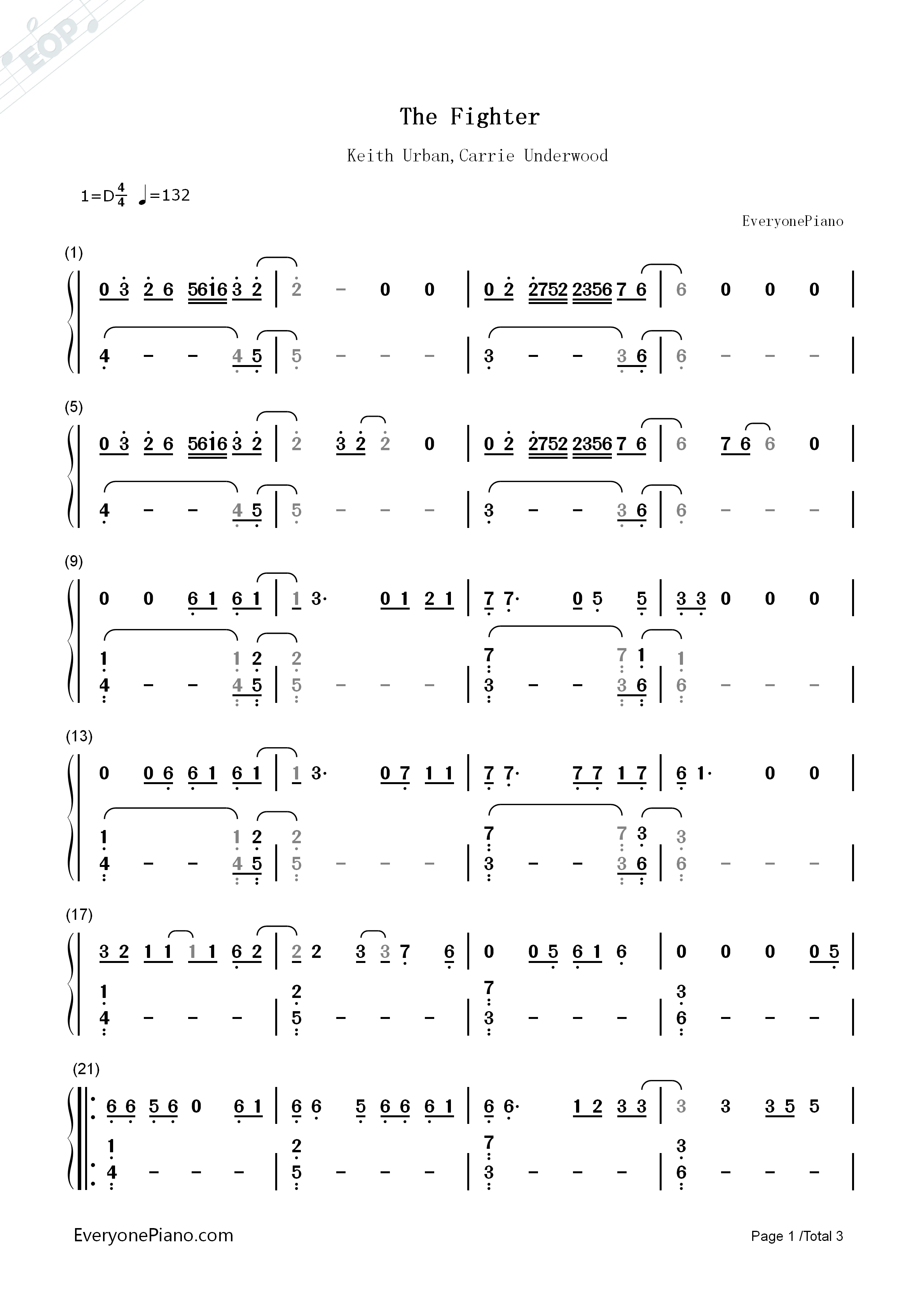 The Fighter-Keith Urban,Carrie Underwood Numbered Musical Notation Preview 1-Free Piano Sheet ...