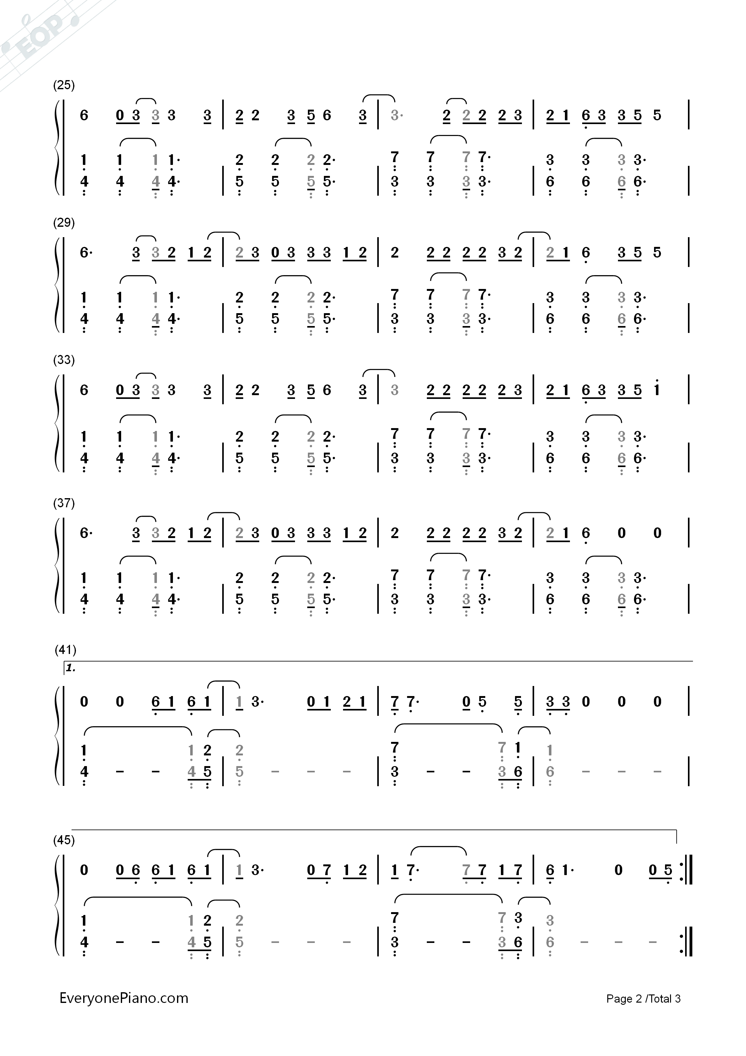 The Fighter-Keith Urban,Carrie Underwood Numbered Musical Notation Preview 2-Free Piano Sheet ...