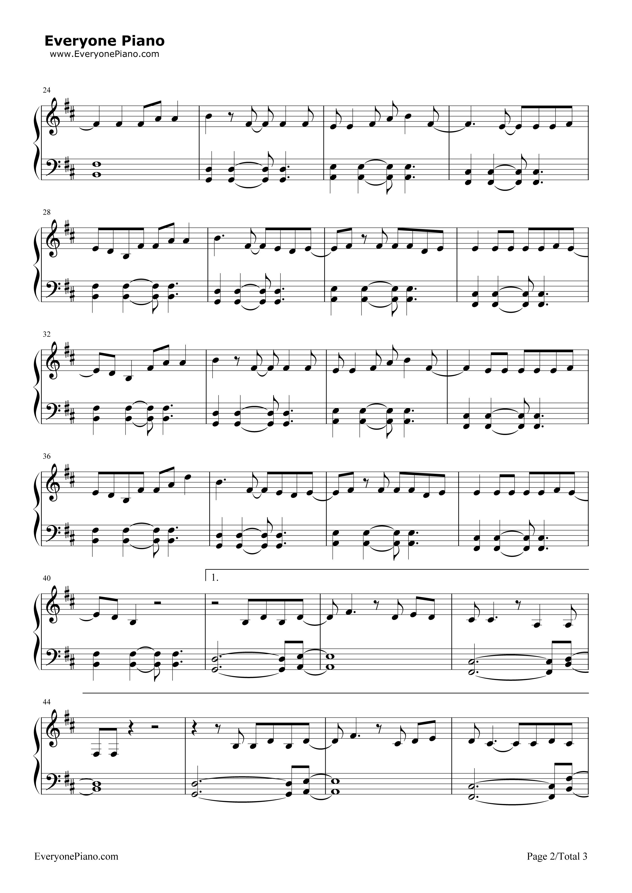 The Fighter-Keith Urban,Carrie Underwood Stave Preview 2-Free Piano Sheet Music u0026 Piano Chords