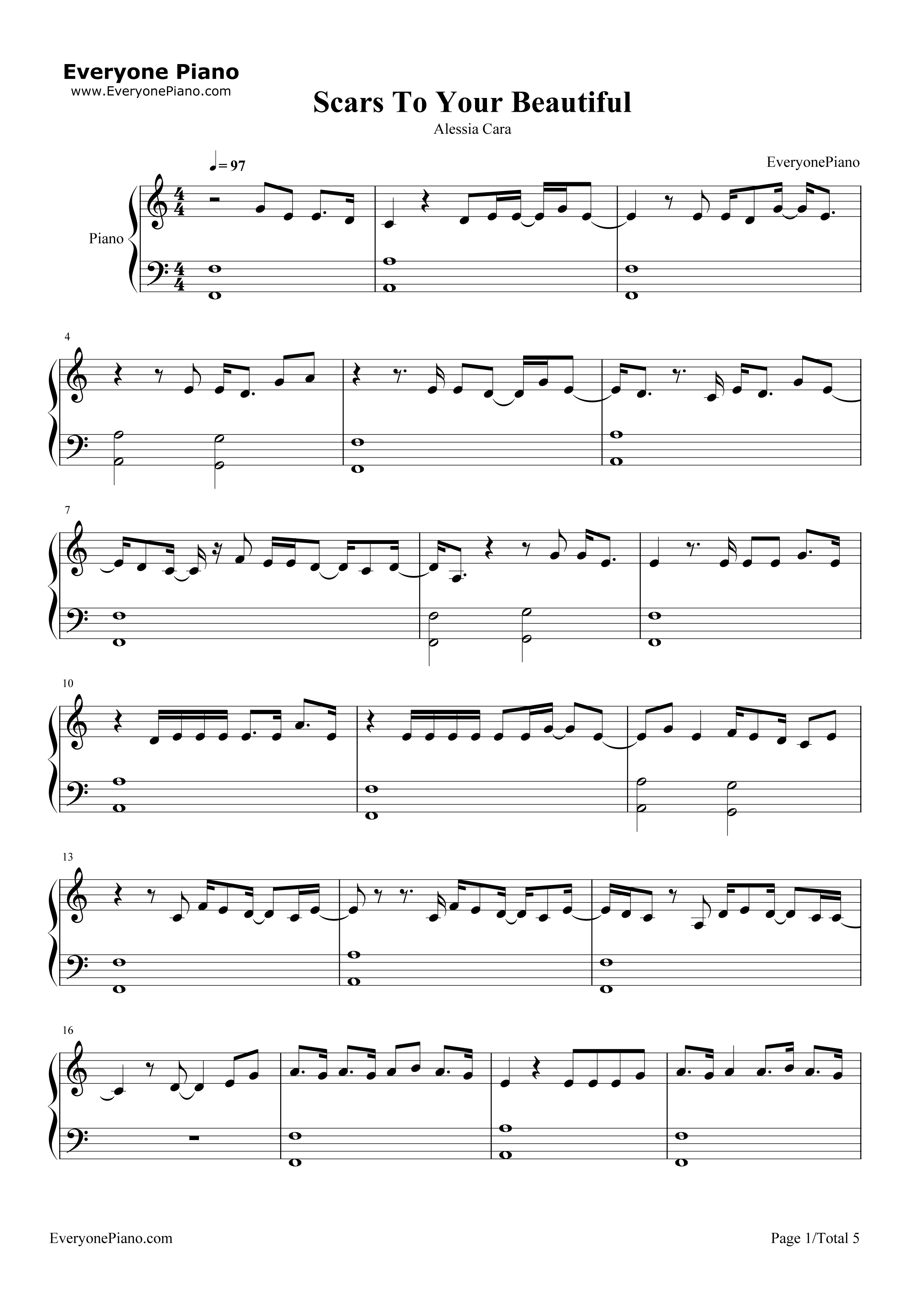 Scars To Your Beautiful-Alessia Cara Stave Preview 1-Free Piano Sheet Music u0026 Piano Chords
