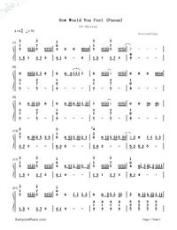 How Would You Feel (Paean)-Ed Sheeran Numbered Musical Notation Preview 1