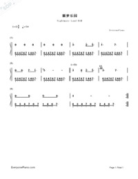 Nightmare Land BGM-Numbered-Musical-Notation-Preview-1