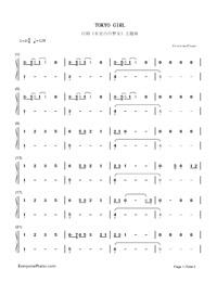 TOKYO GIRL-Tokyo Tarareba Musume theme-Numbered-Musical-Notation-Preview-1