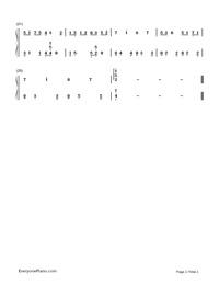 三葉の通學-《你的名字》插曲雙手簡譜預覽2