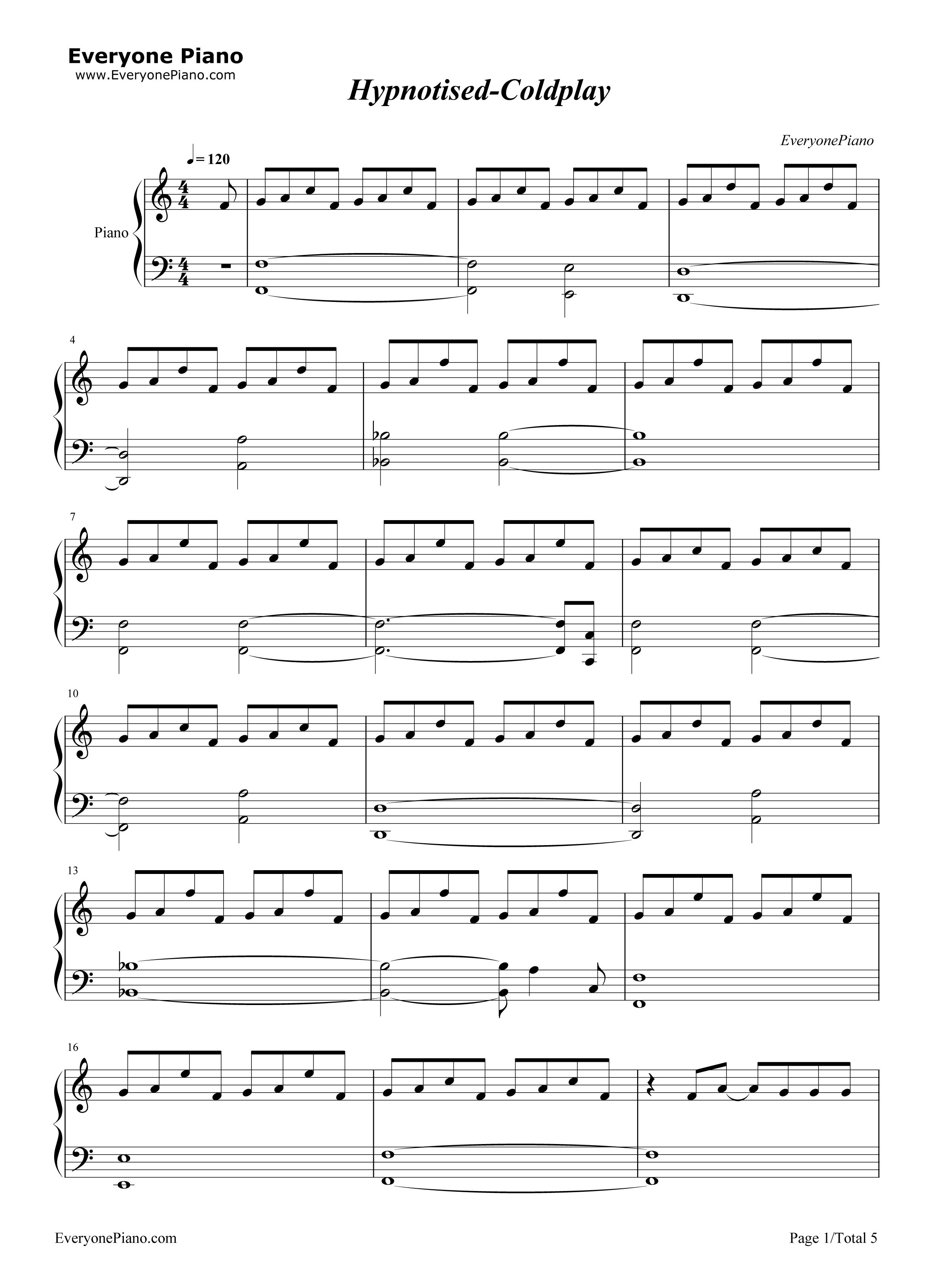 Hypnotised coldplay stave preview 1 free piano sheet music listen now print sheet hypnotised coldplay stave preview 1 hexwebz Gallery