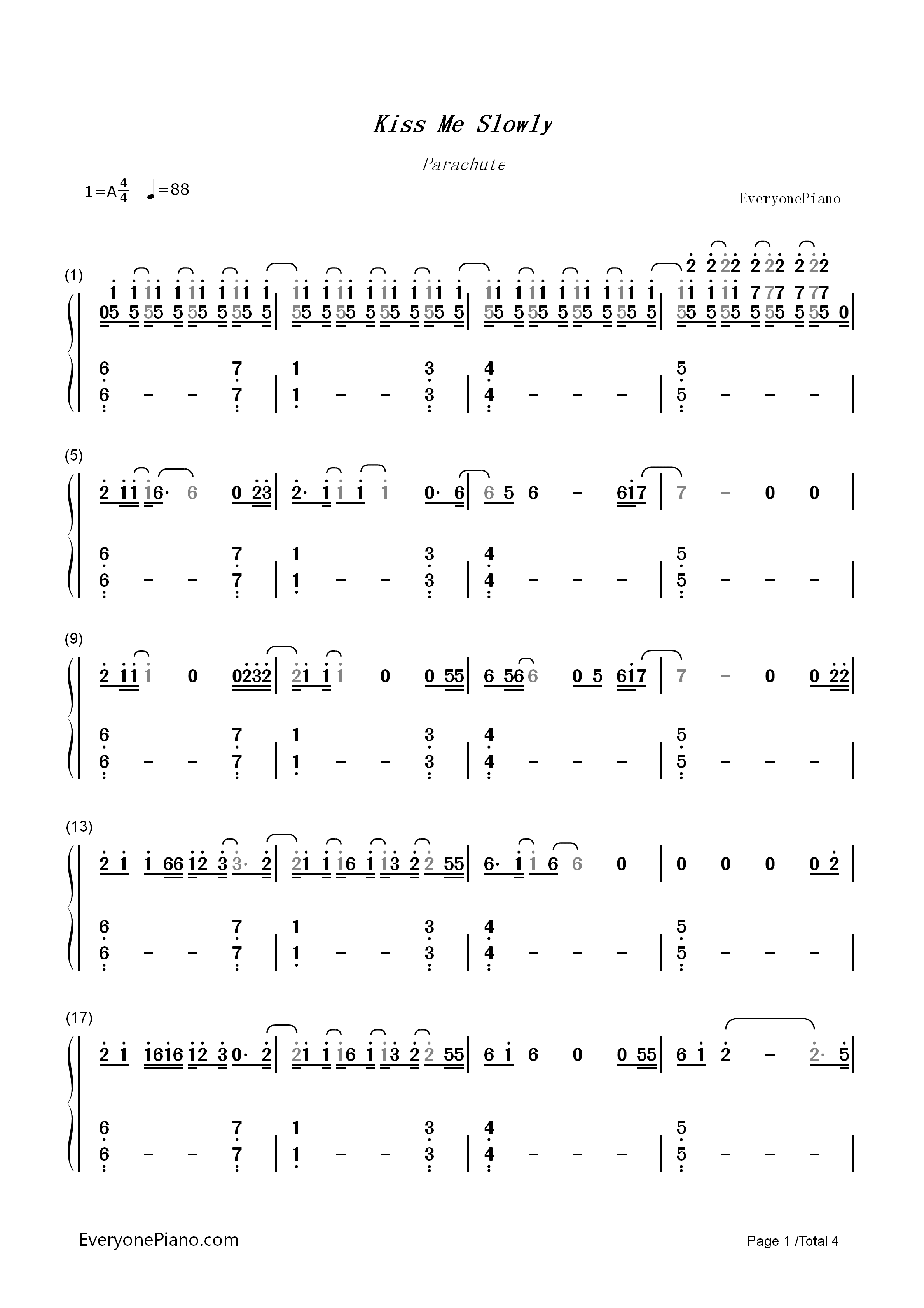 Kiss me slowly parachute numbered musical notation preview 1 free listen now print sheet kiss me slowly parachute numbered musical notation preview 1 hexwebz Images