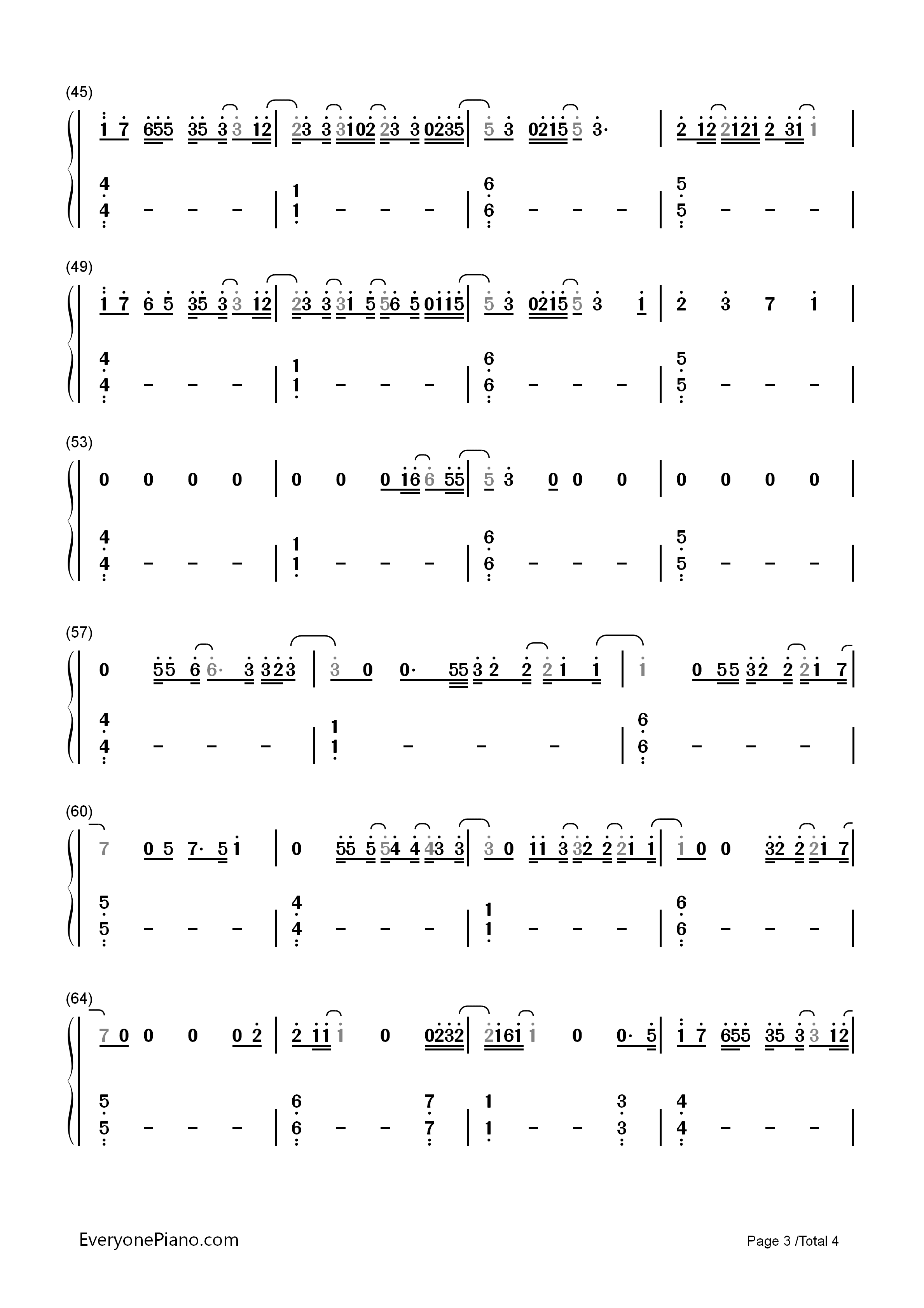 Kiss me slowly parachute numbered musical notation preview 3 free listen now print sheet kiss me slowly parachute numbered musical notation preview 3 hexwebz Images