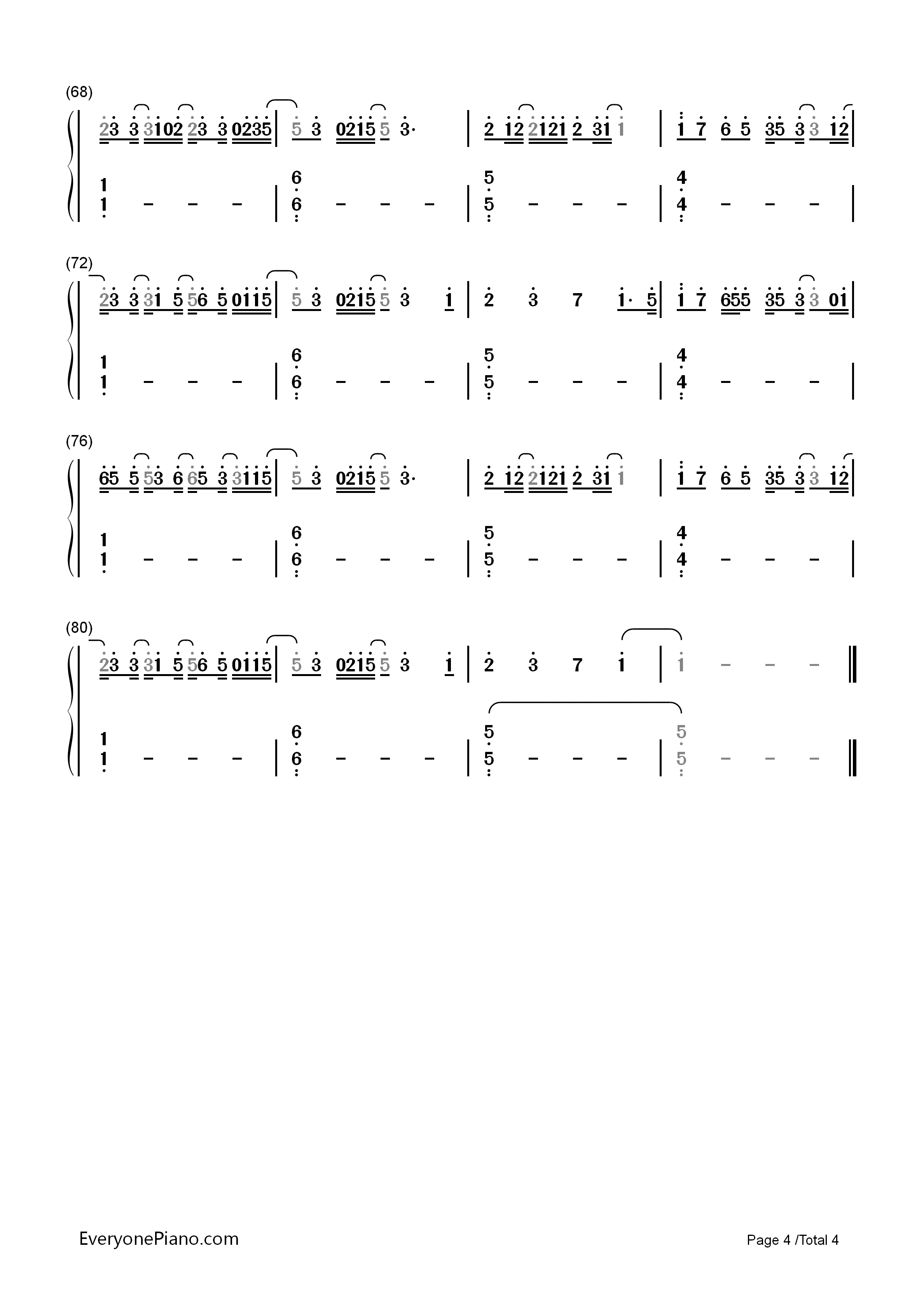 Kiss me slowly parachute numbered musical notation preview 4 free listen now print sheet kiss me slowly parachute numbered musical notation preview 4 hexwebz Images