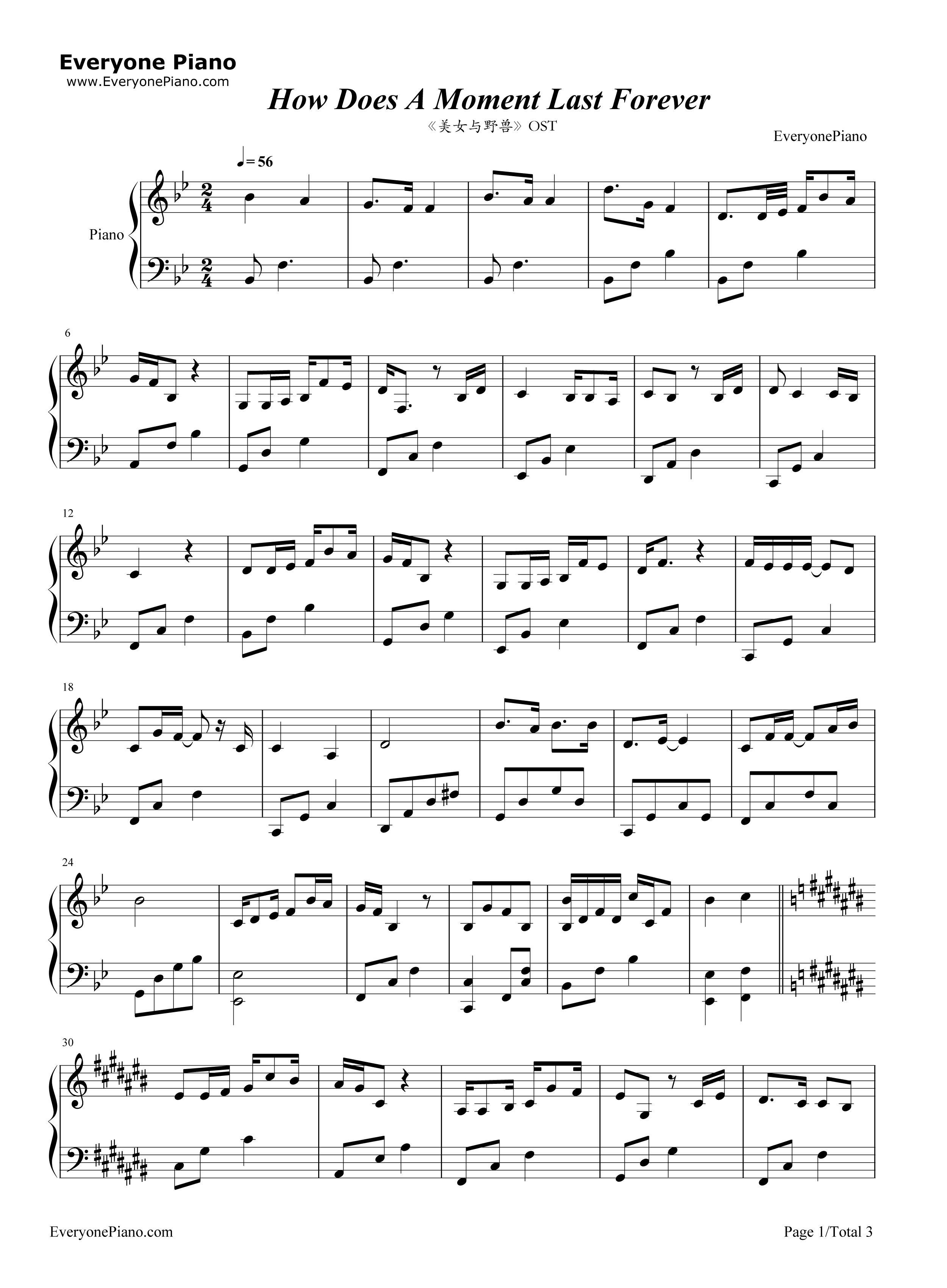 ... the Beast OST Stave Preview 1-Free Piano Sheet Music & Piano Chords