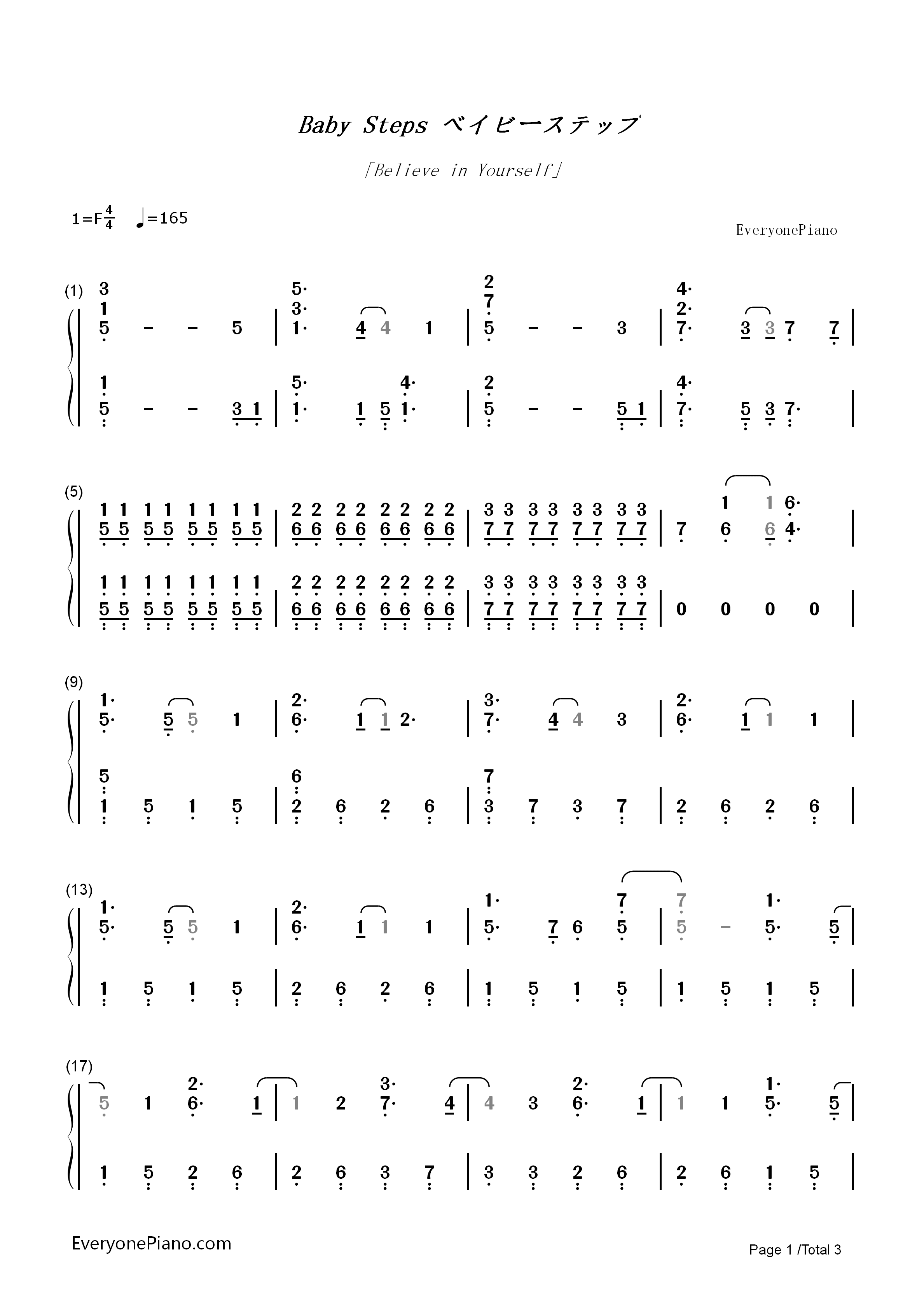 Believe In Yourself-Baby Steps OP Numbered Musical Notation Preview 1