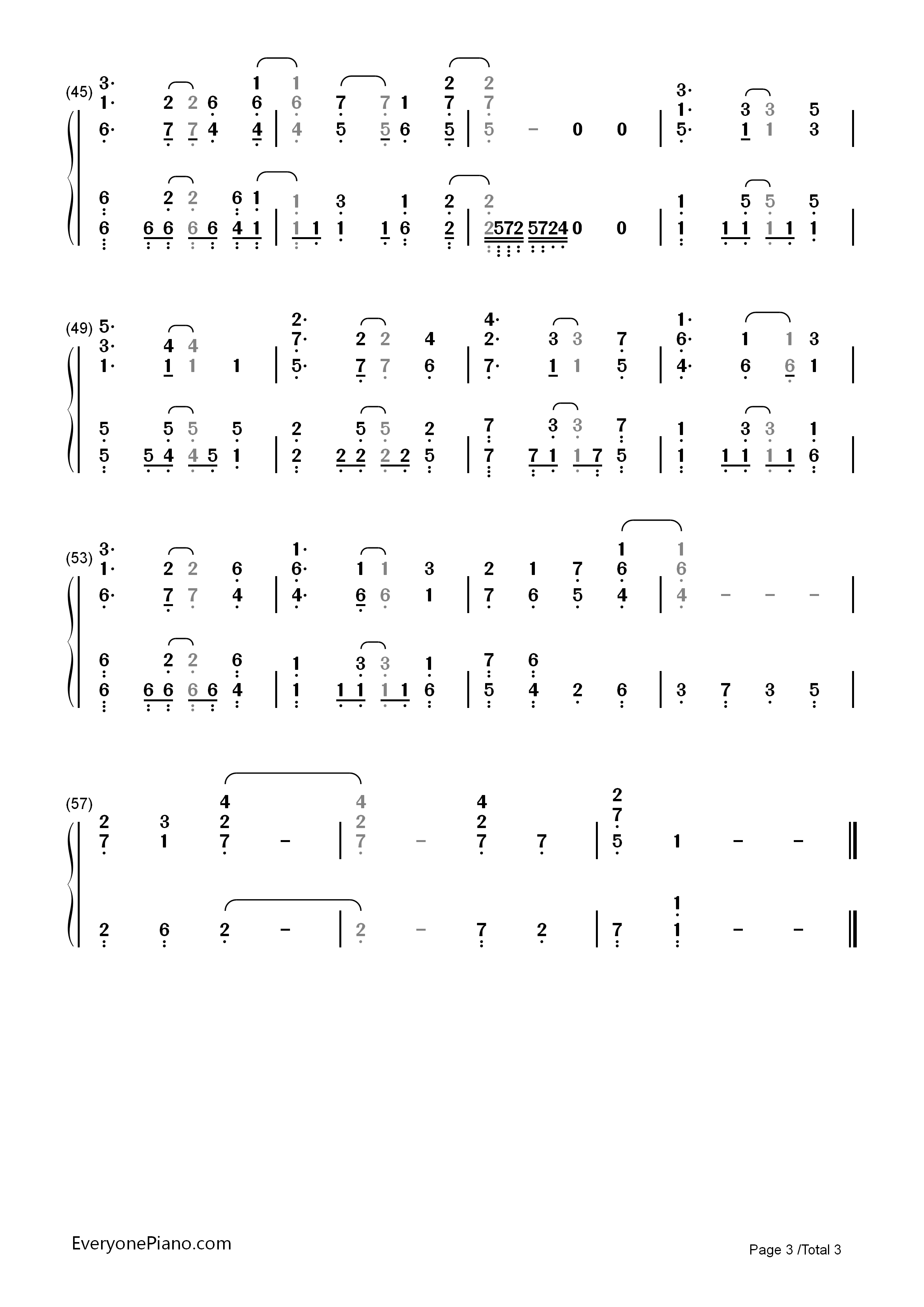 Believe In Yourself-Baby Steps OP Numbered Musical Notation Preview 3