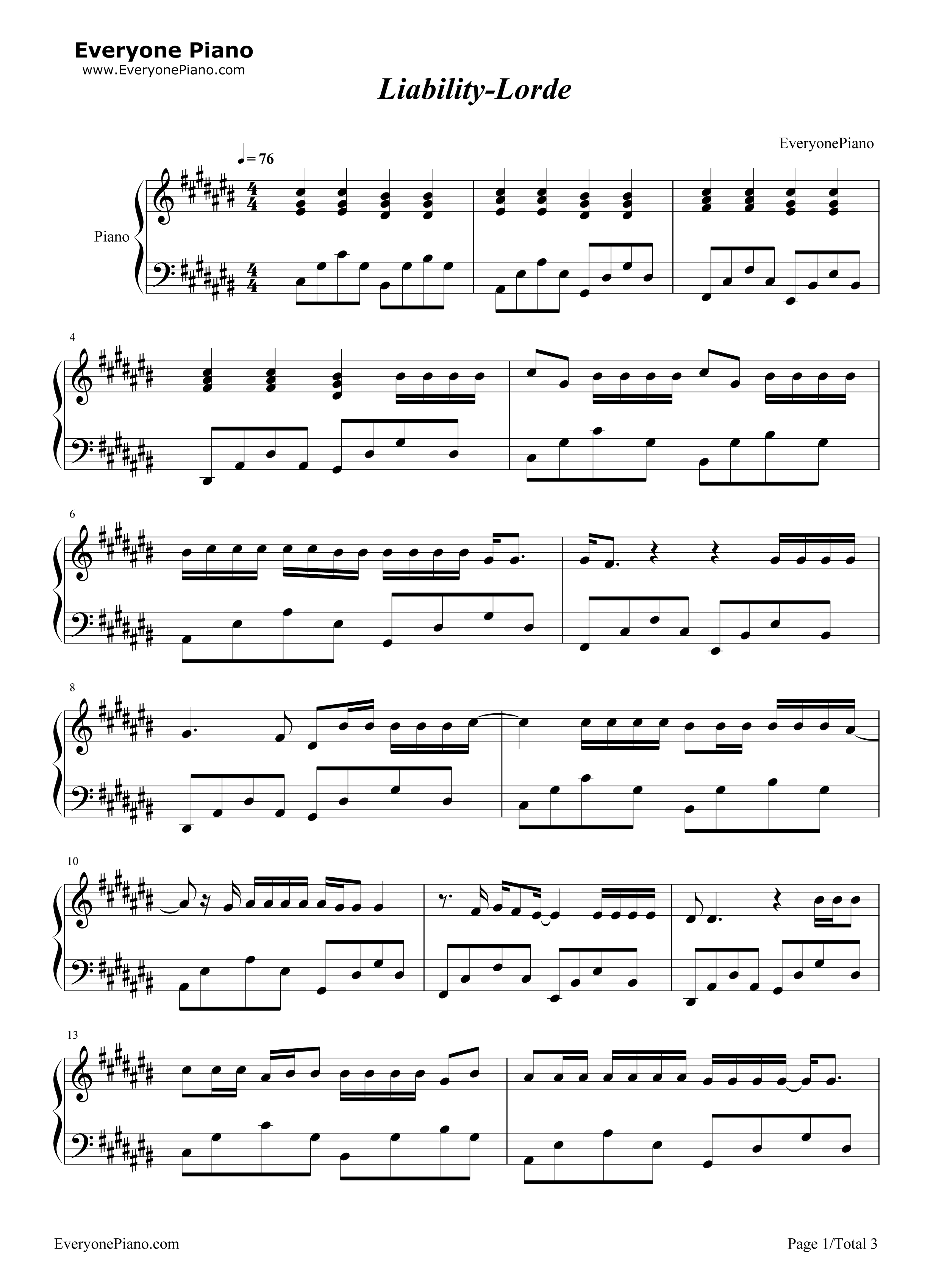 Liability lorde stave preview 1 free piano sheet music piano chords listen now print sheet liability lorde stave preview 1 hexwebz Gallery