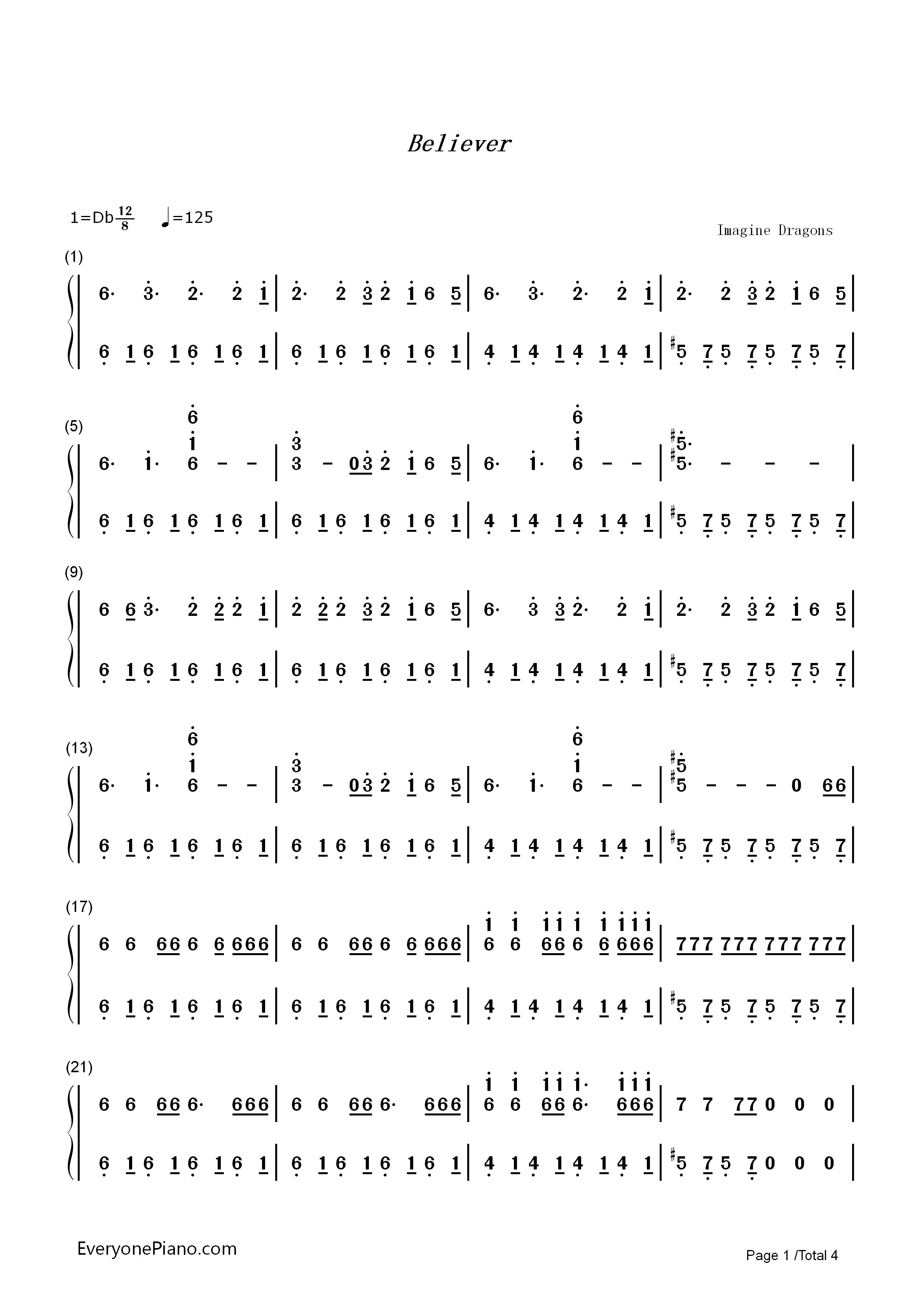 Believer imagine dragons numbered musical notation preview 1 free listen now print sheet believer imagine dragons numbered musical notation preview 1 hexwebz Gallery