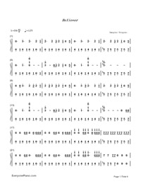 Believer-Imagine Dragons-Numbered-Musical-Notation-Preview-1