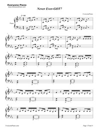 Never Ever-GOT7 Free Piano Sheet Music & Piano Chords