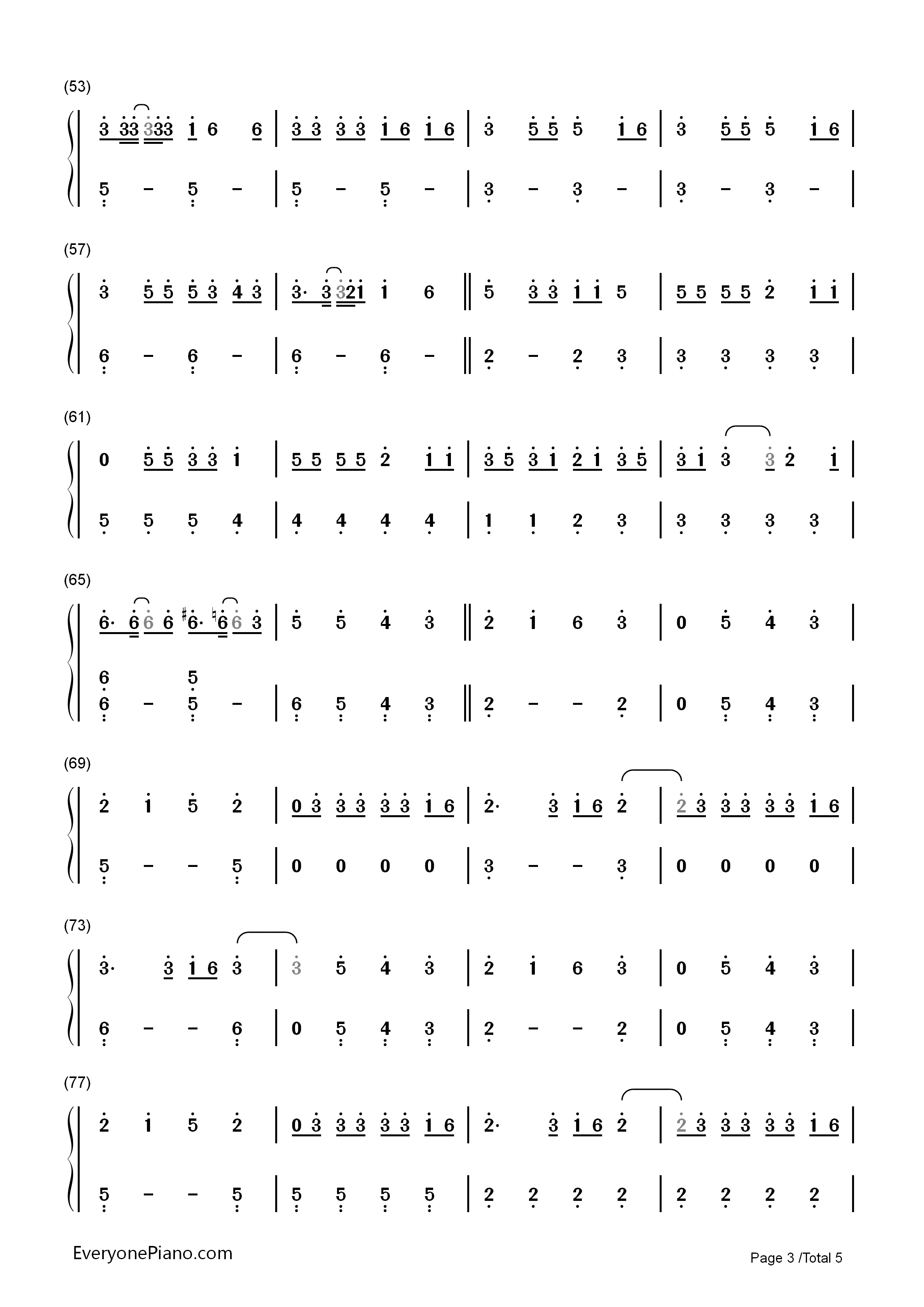 That's What I Like-Bruno Mars Numbered Musical Notation Preview 3