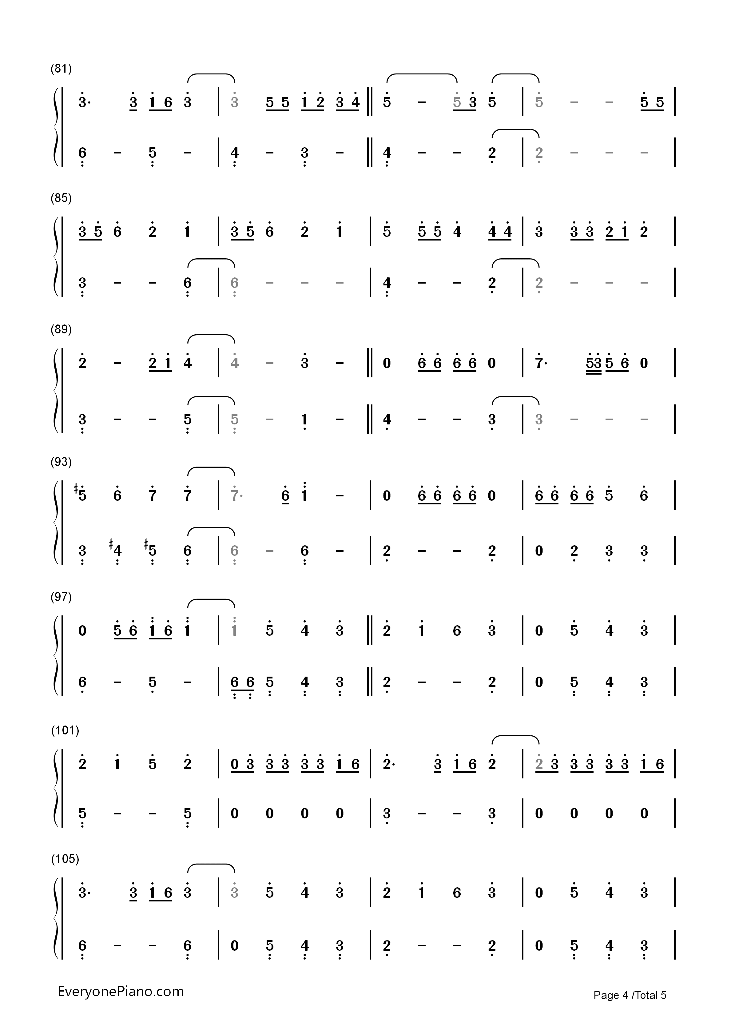 That's What I Like-Bruno Mars Numbered Musical Notation Preview 4