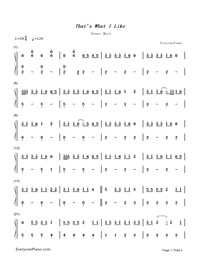 That's What I Like-Bruno Mars Numbered Musical Notation Preview 1