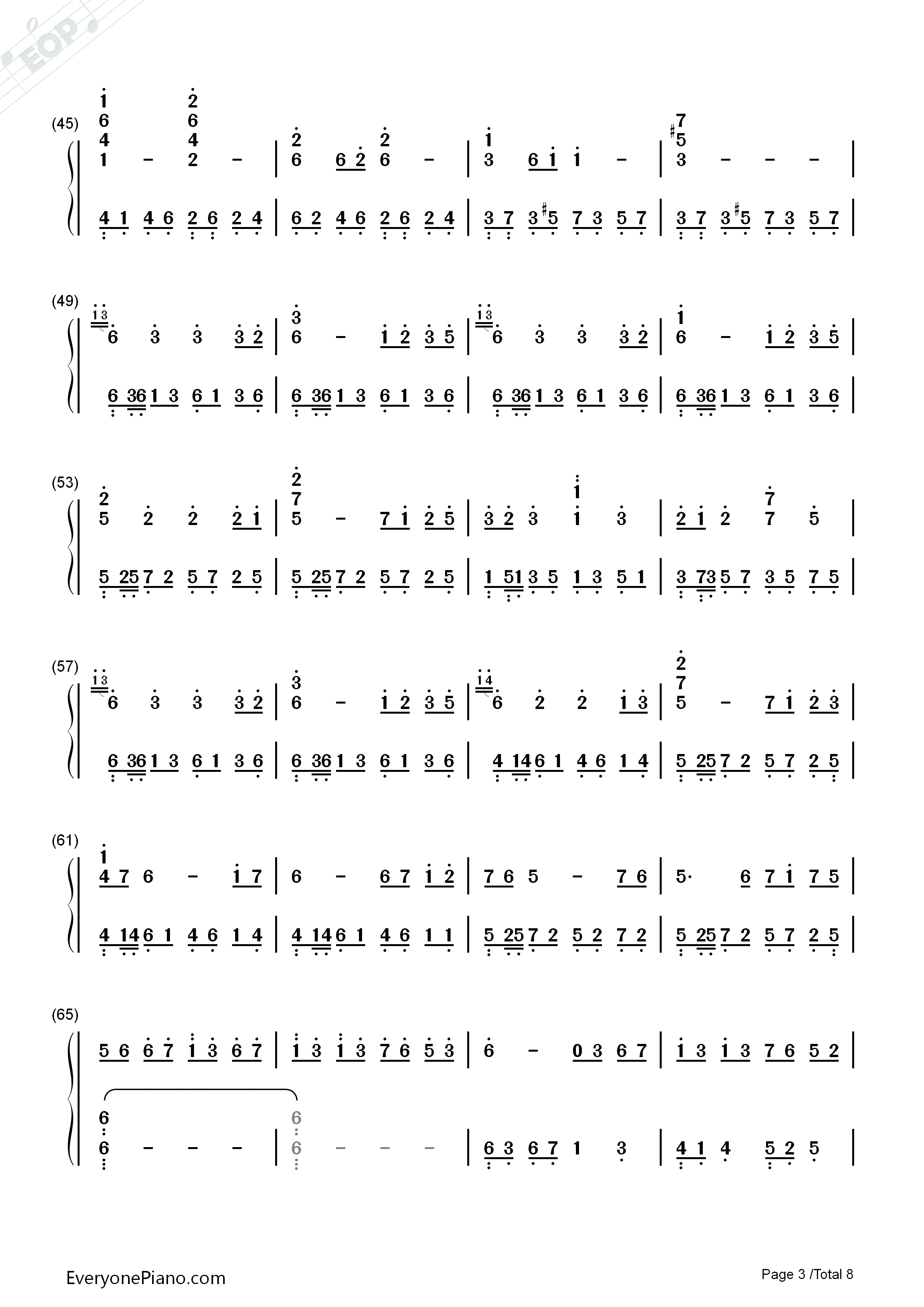 Star Sky-Two Steps from Hell Numbered Musical Notation Preview 3