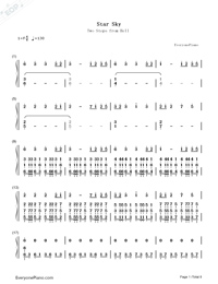 Star Sky-Two Steps from Hell Numbered Musical Notation Preview 1