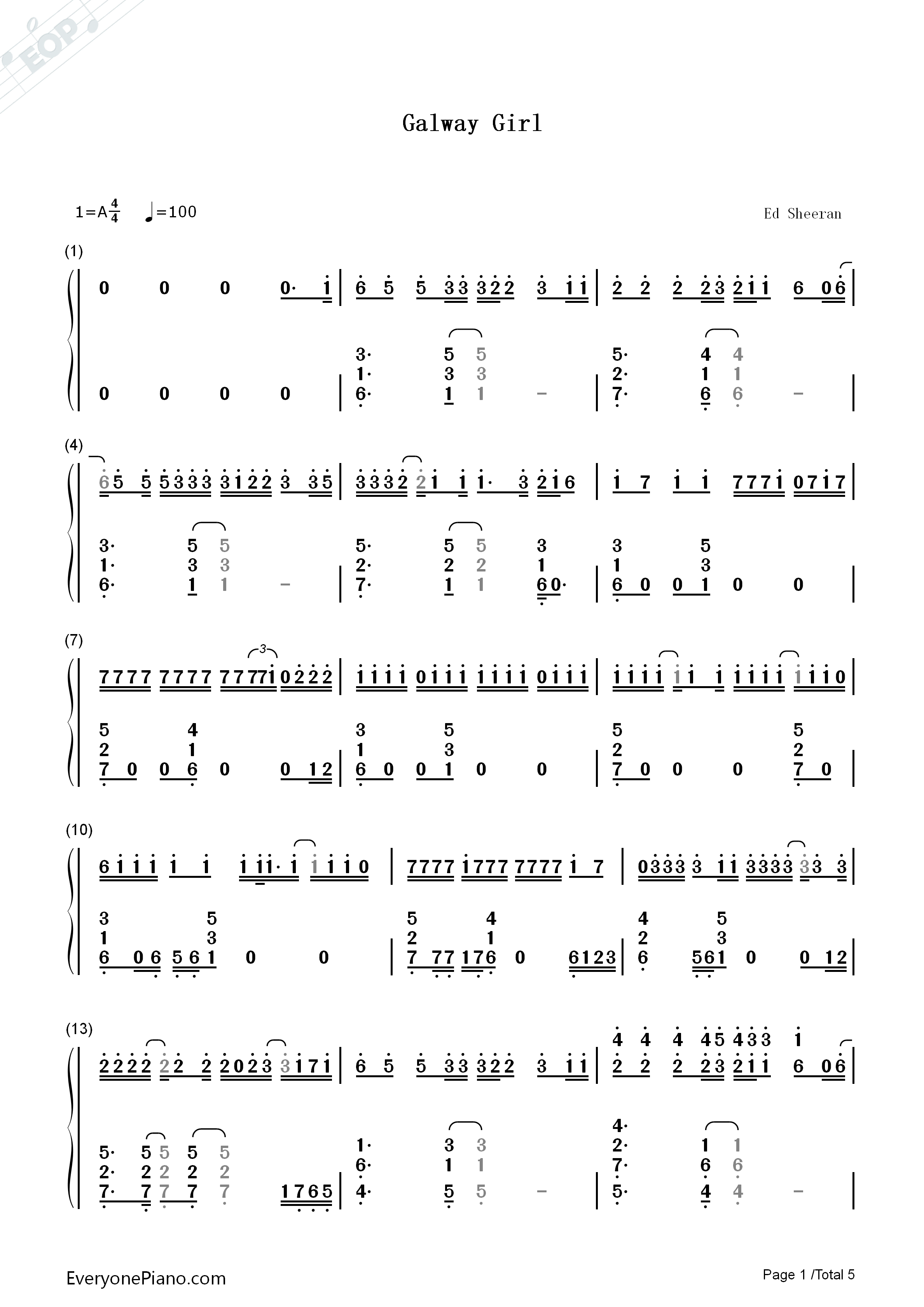 Galway girl ed sheeran numbered musical notation preview 1 free listen now print sheet galway girl ed sheeran numbered musical notation preview 1 hexwebz Images