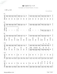 Usotsuki no Parade-Parade of Liars-Numbered-Musical-Notation-Preview-1