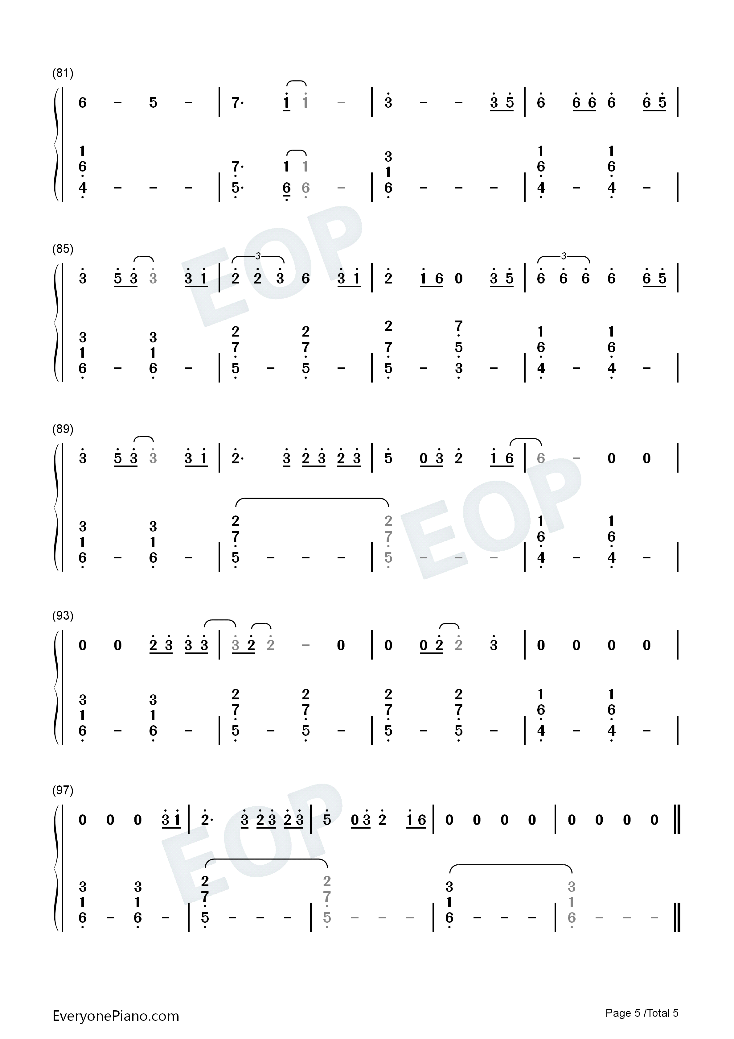 Dream It Possible Numbered Musical Notation Preview 5