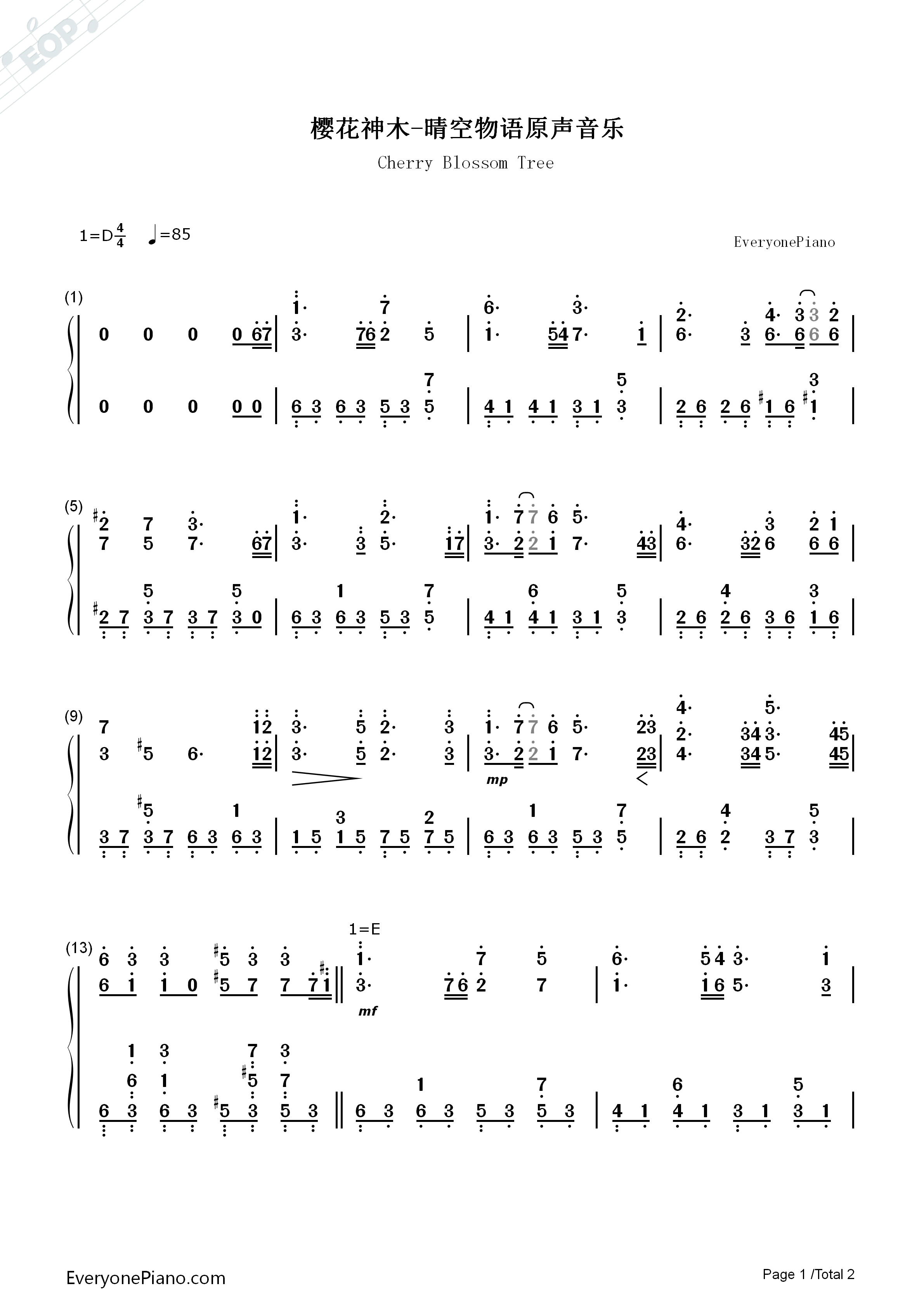 Cherry Blossom Tree-Glory Destiny Online OST Numbered Musical Notation Preview 1