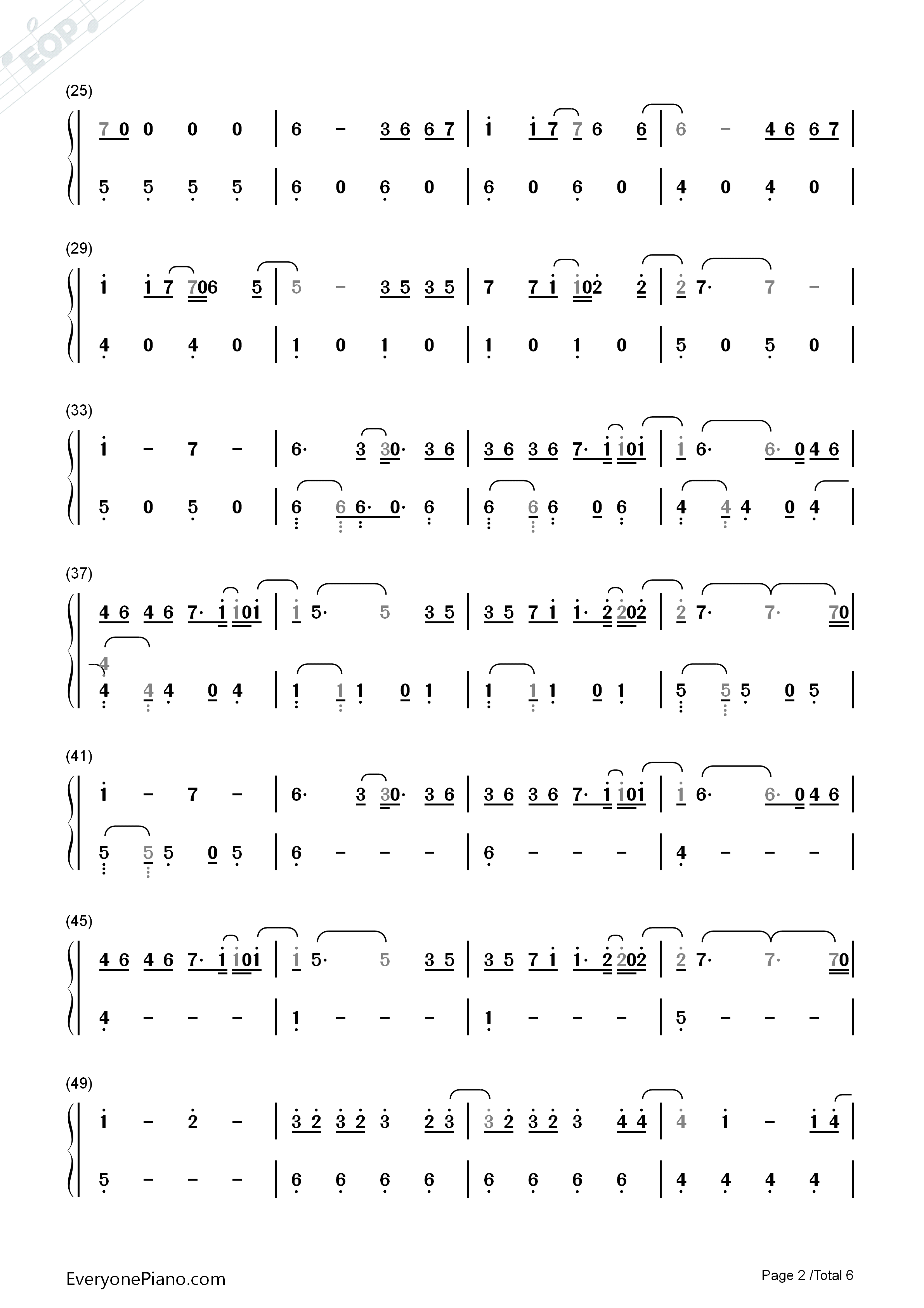 Despacito-Luis Fonsi Numbered Musical Notation Preview 2