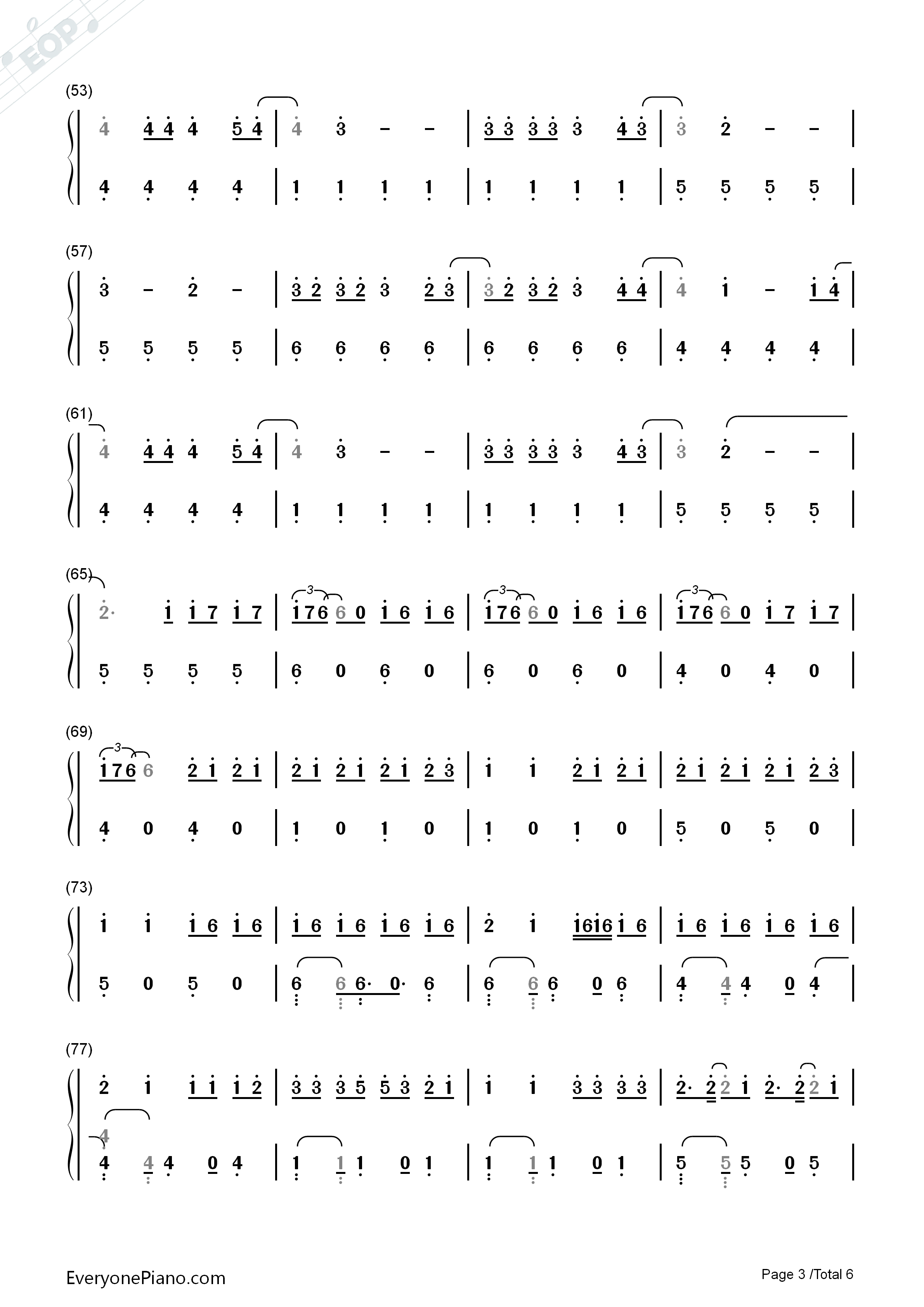 Despacito-Luis Fonsi Numbered Musical Notation Preview 3