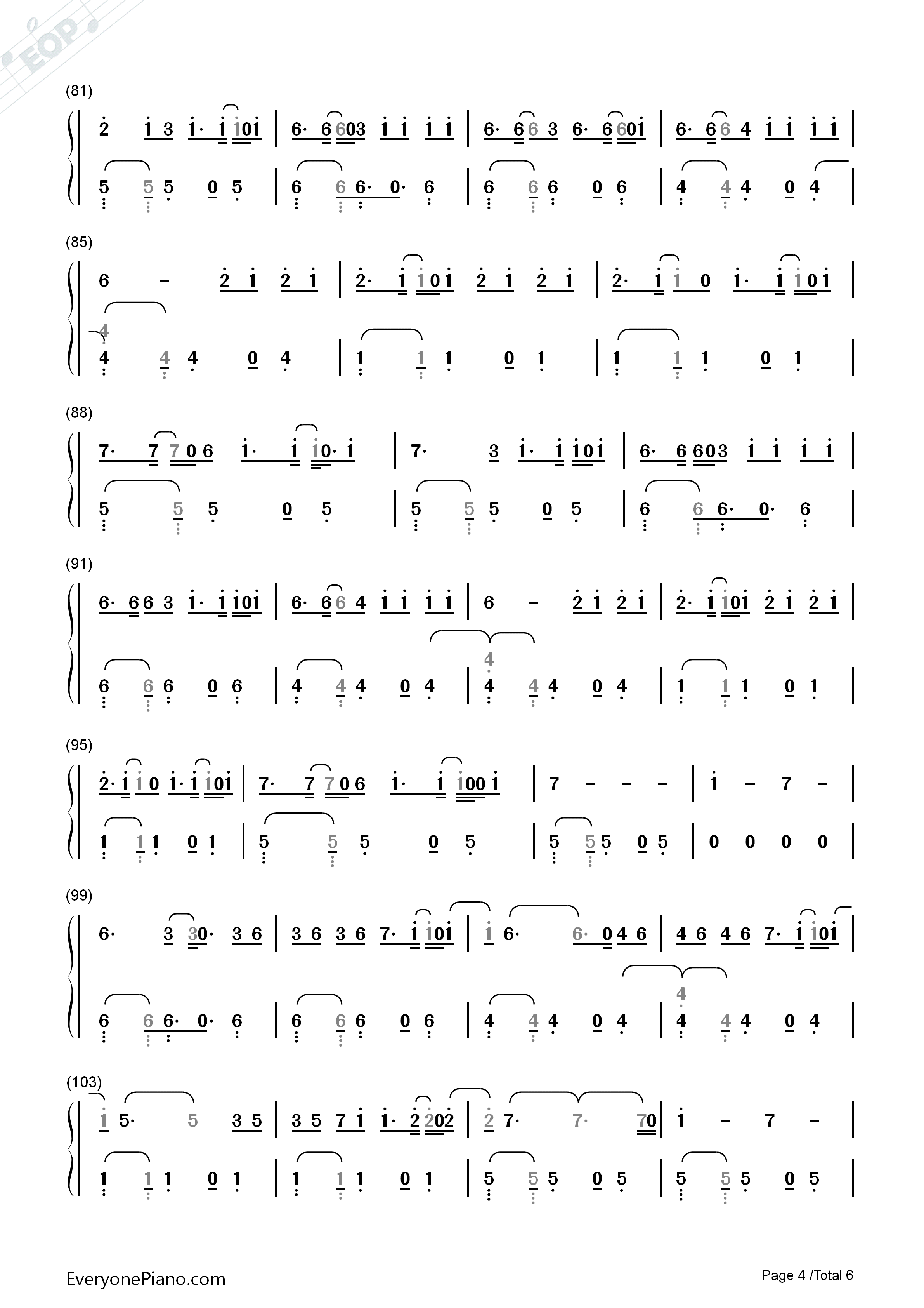 Despacito-Luis Fonsi Numbered Musical Notation Preview 4