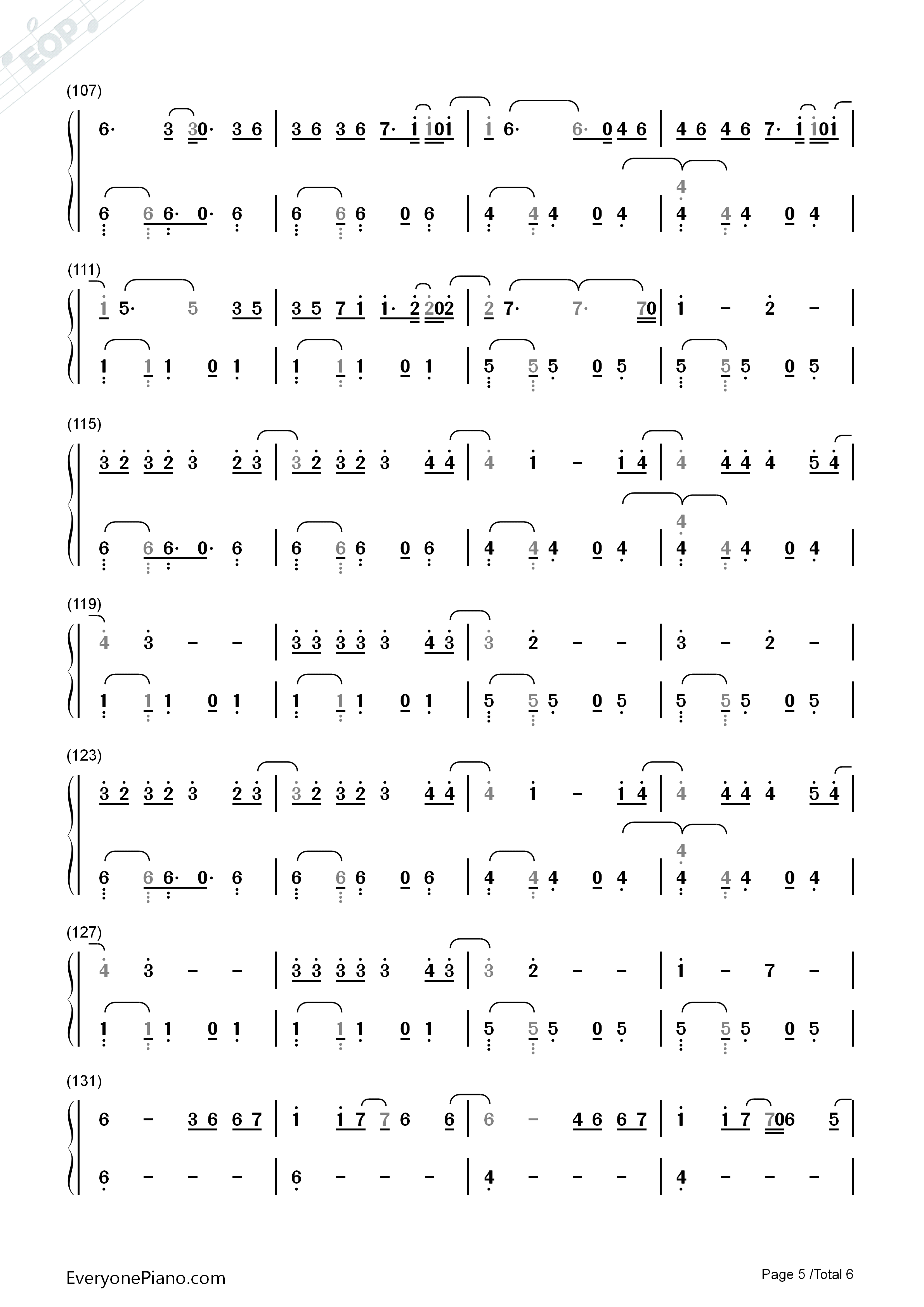 Despacito-Luis Fonsi Numbered Musical Notation Preview 5