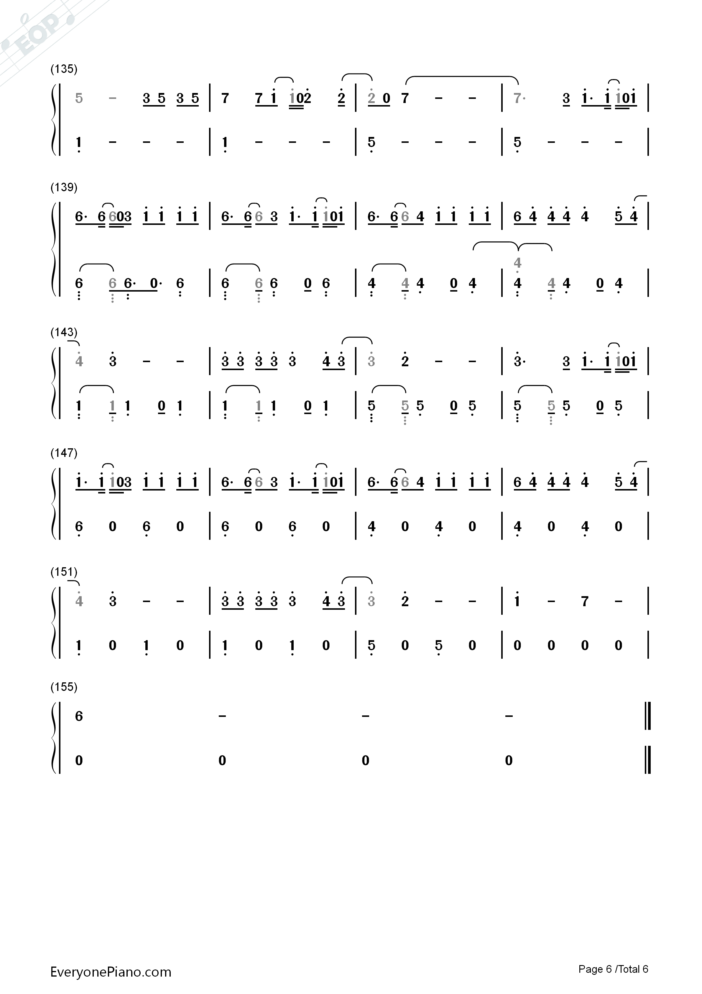 Despacito-Luis Fonsi Numbered Musical Notation Preview 6