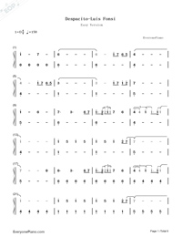 Despacito-Luis Fonsi Numbered Musical Notation Preview 1