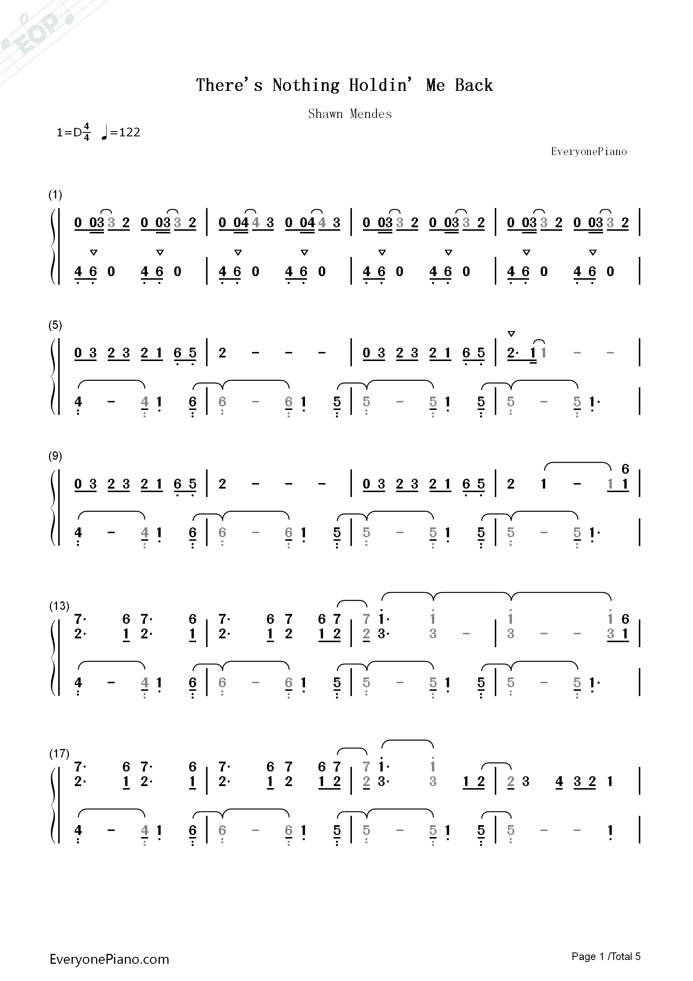 There S Nothing Holdin Me Back Numbered Musical Notation Preview