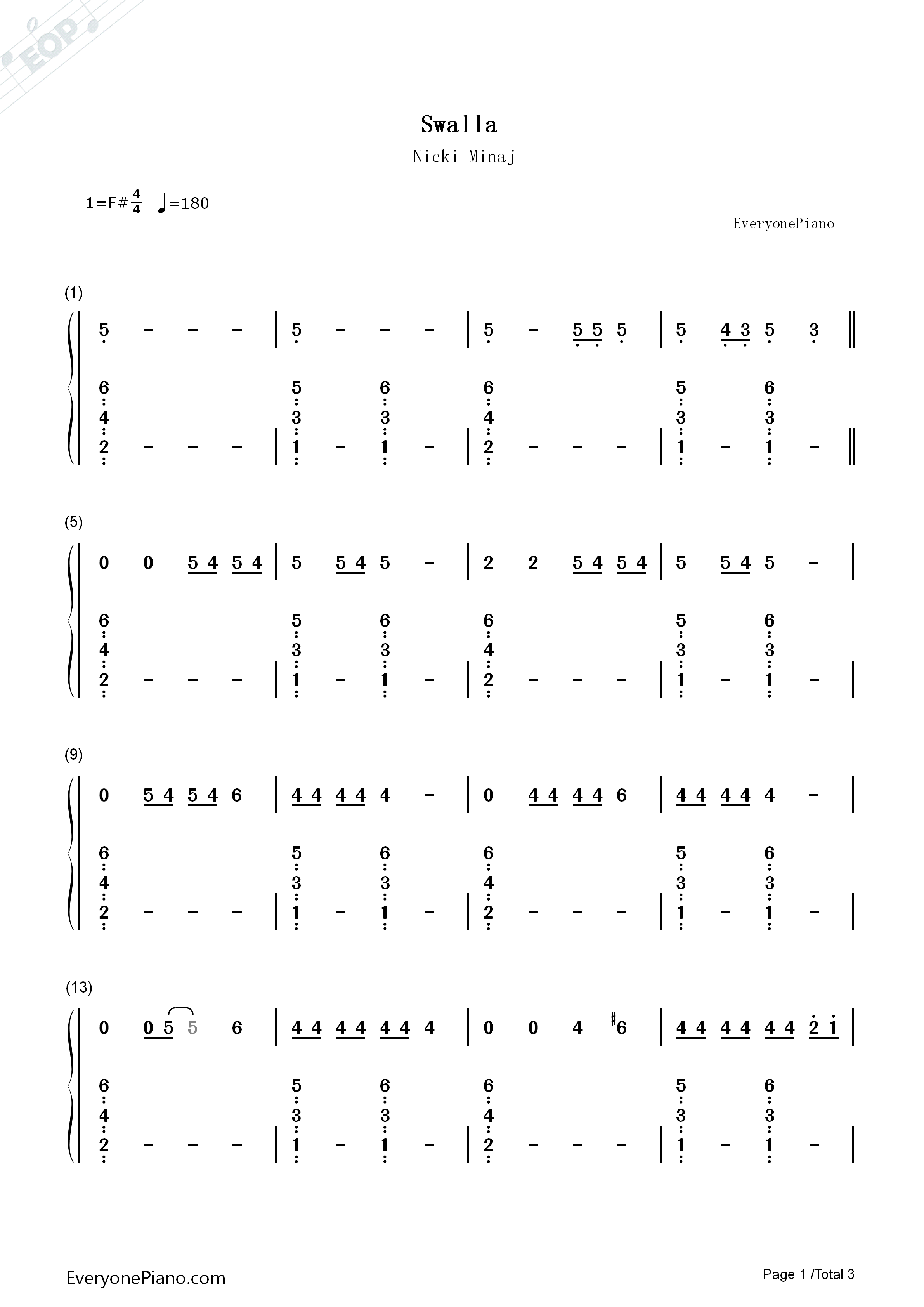 Swalla-Jason Derulo Numbered Musical Notation Preview 1
