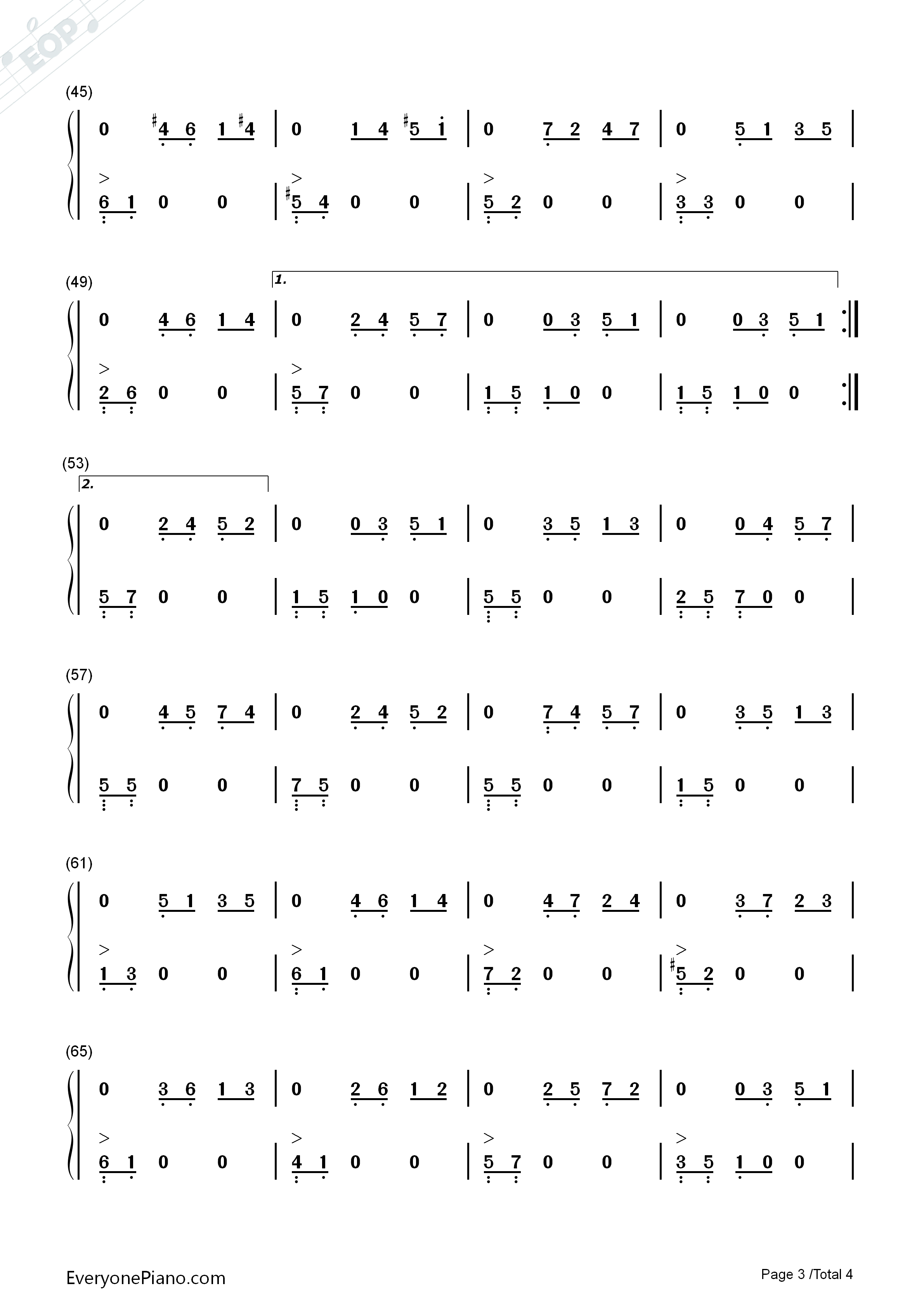 On Wings of Song Numbered Musical Notation Preview 3