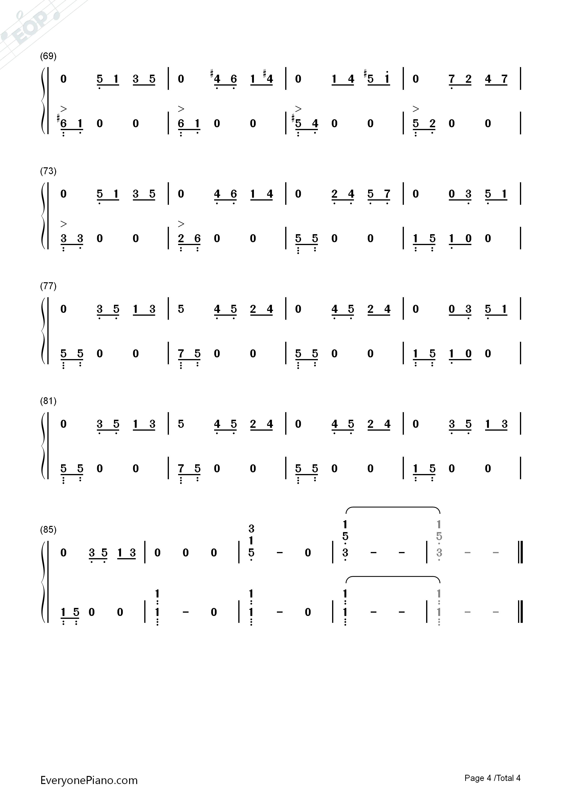 On Wings of Song Numbered Musical Notation Preview 4