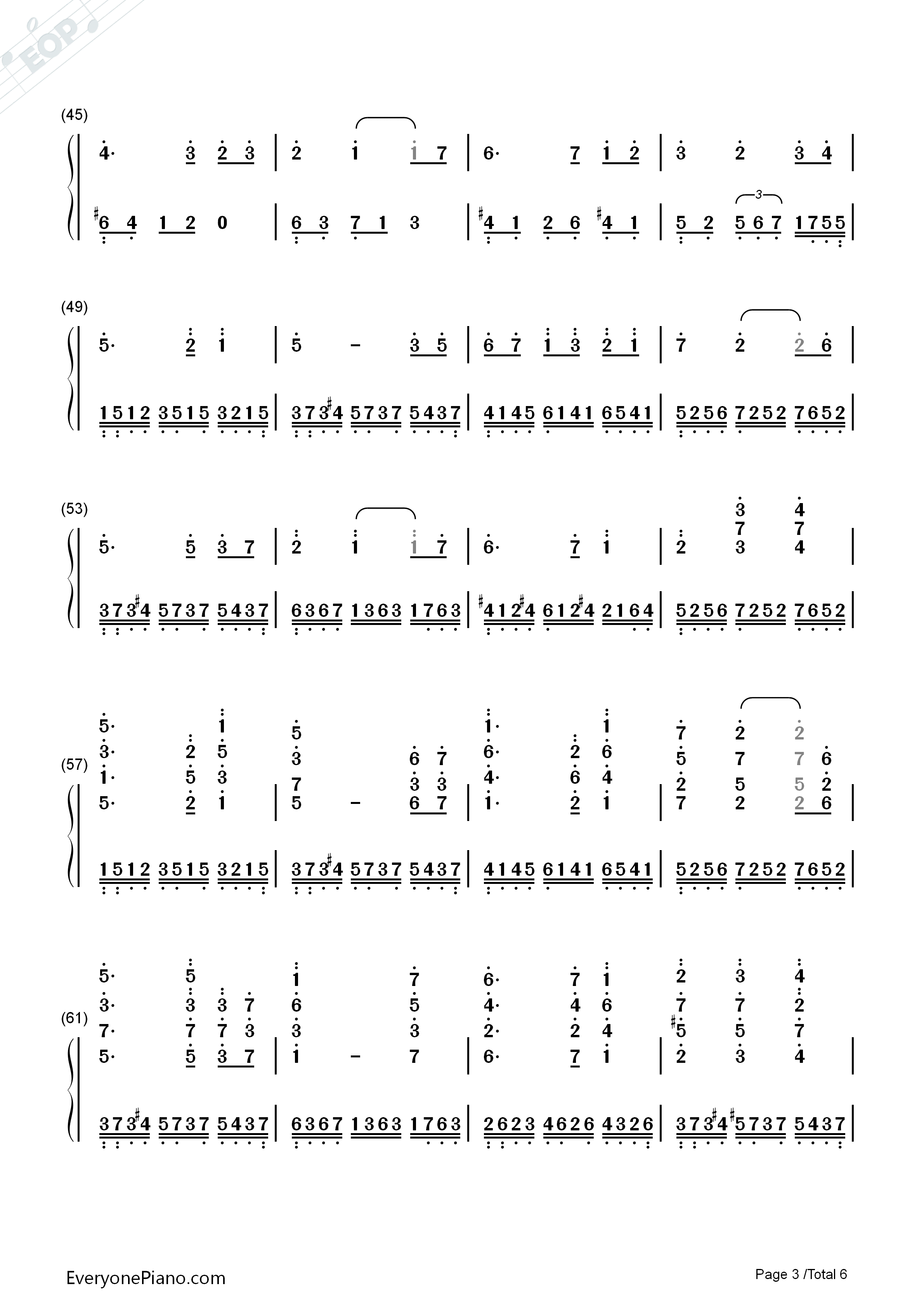 Water Rhyme-Yuan Xian Numbered Musical Notation Preview 3