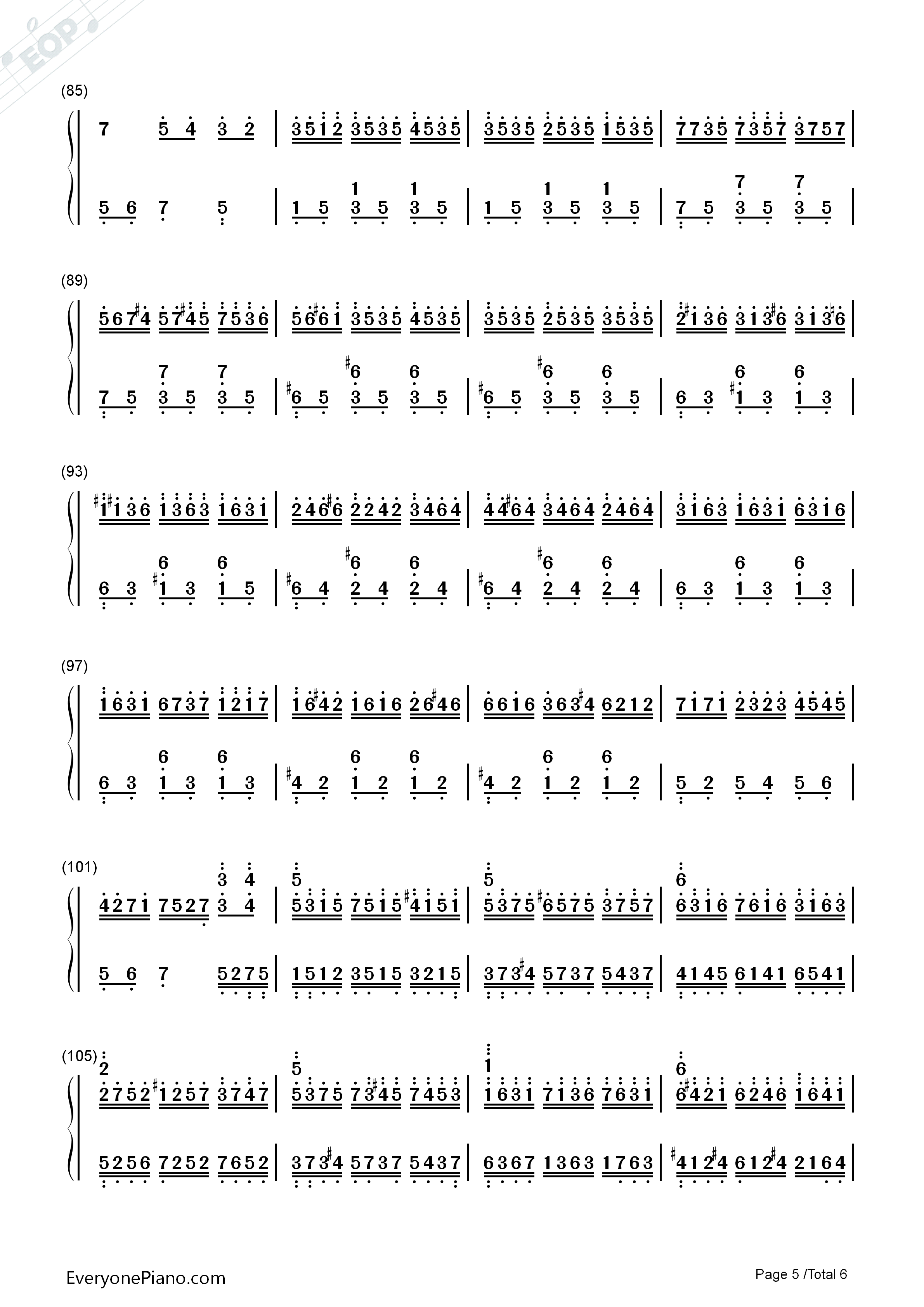 Water Rhyme-Yuan Xian Numbered Musical Notation Preview 5