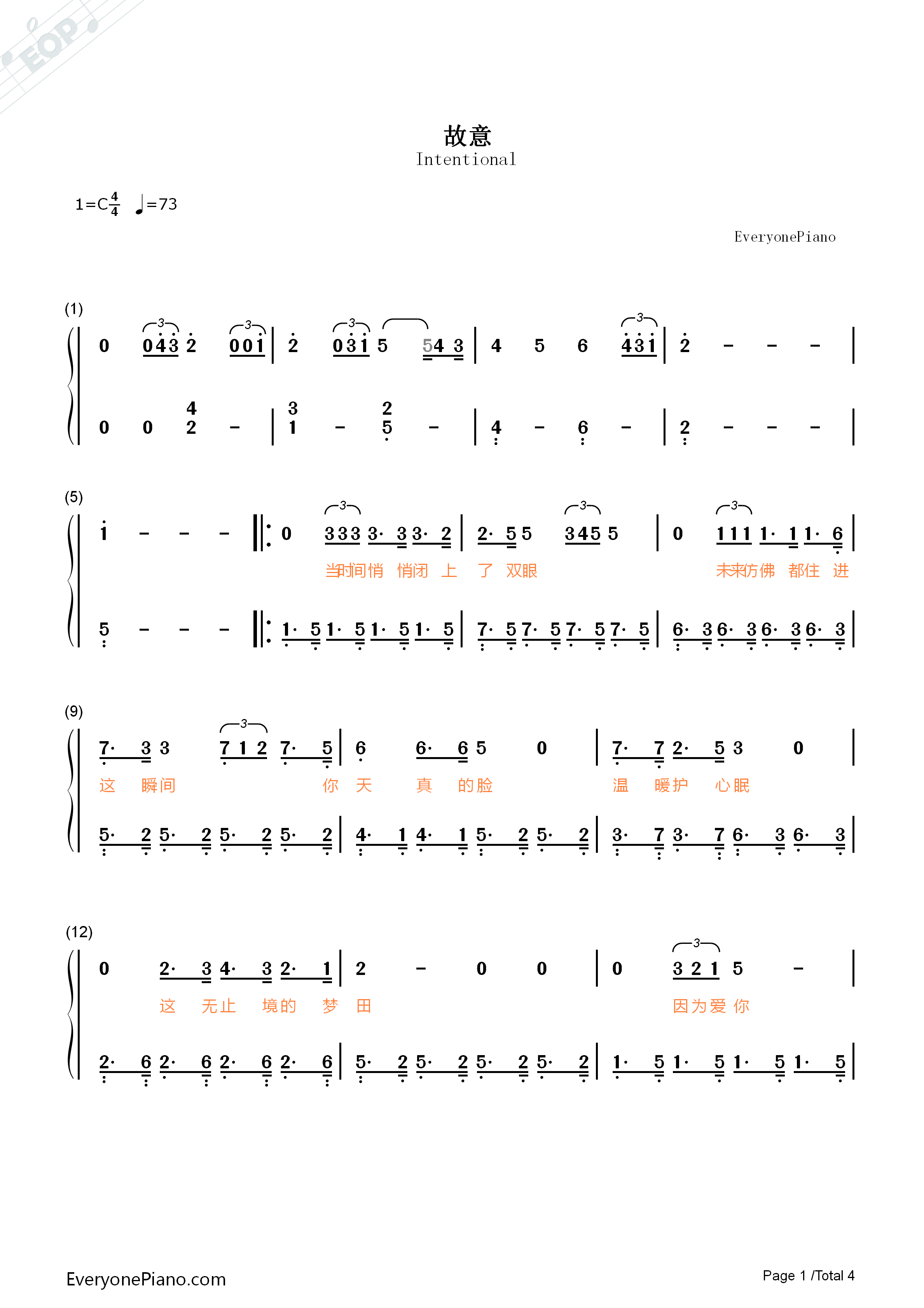 Intentional-Fighter of the Destiny OST Numbered Musical Notation Preview 1
